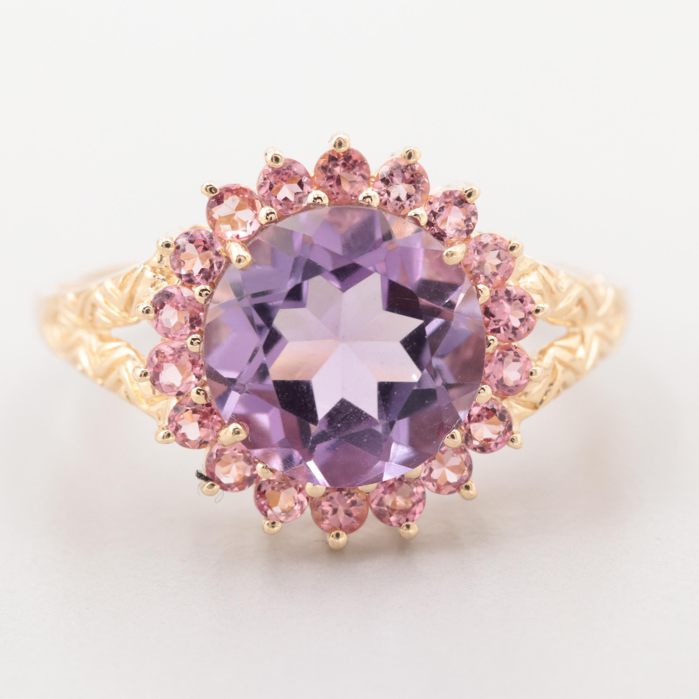 14K Yellow Gold Amethyst Ring with Tourmaline Halo