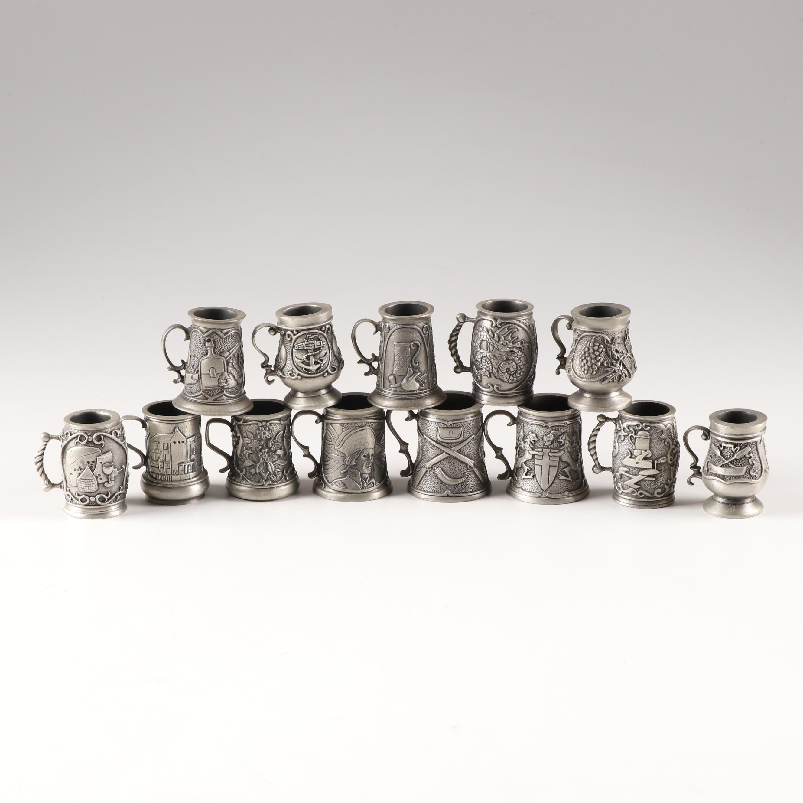 Miniature Pewter Tankards by The London Apprentice John Pinches Limited