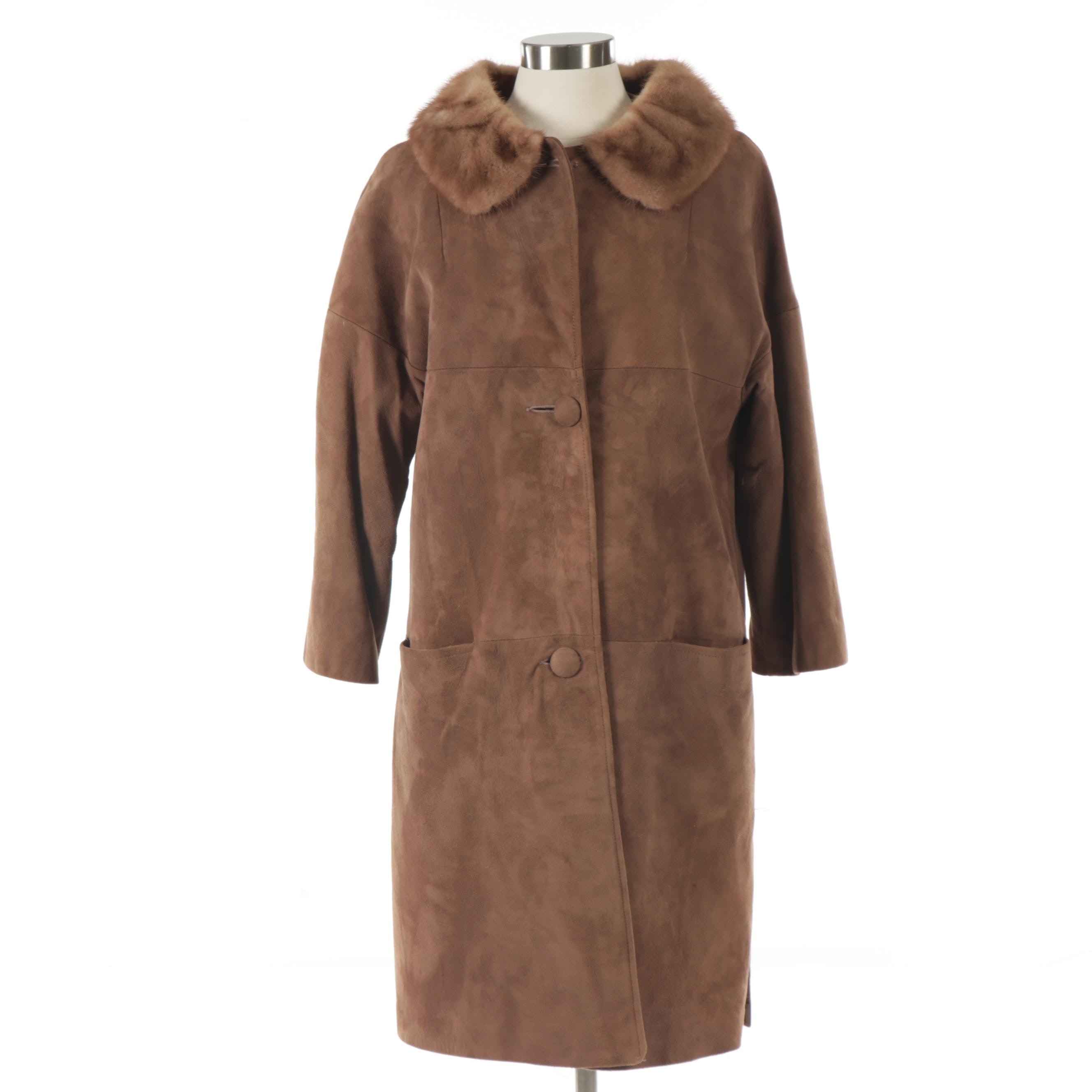 Women's Brown Suede Coat with Mink Fur Collar, Vintage