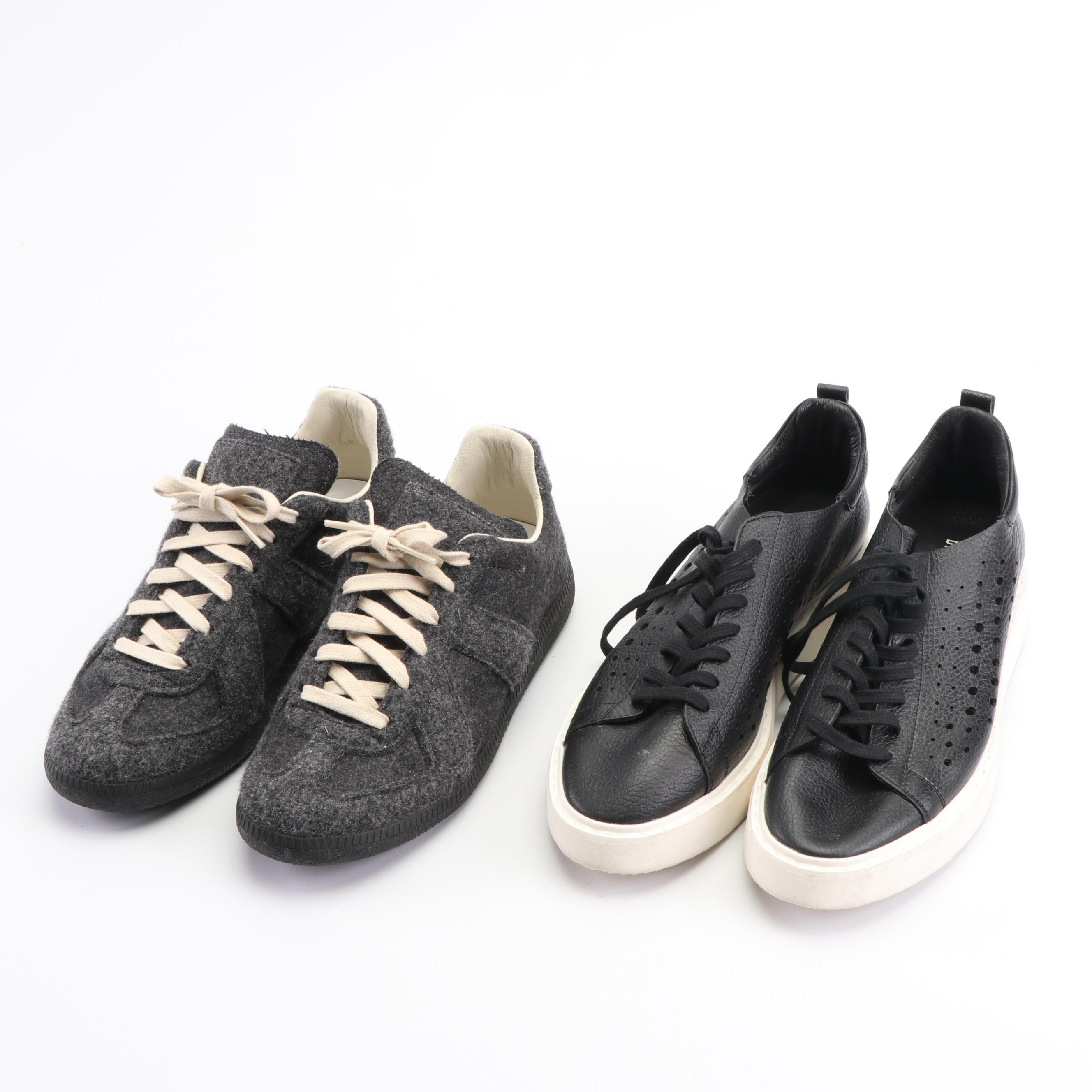 Maison Margiela Grey Felted Wool and Bikkembergs Black Pierced Leather Sneakers