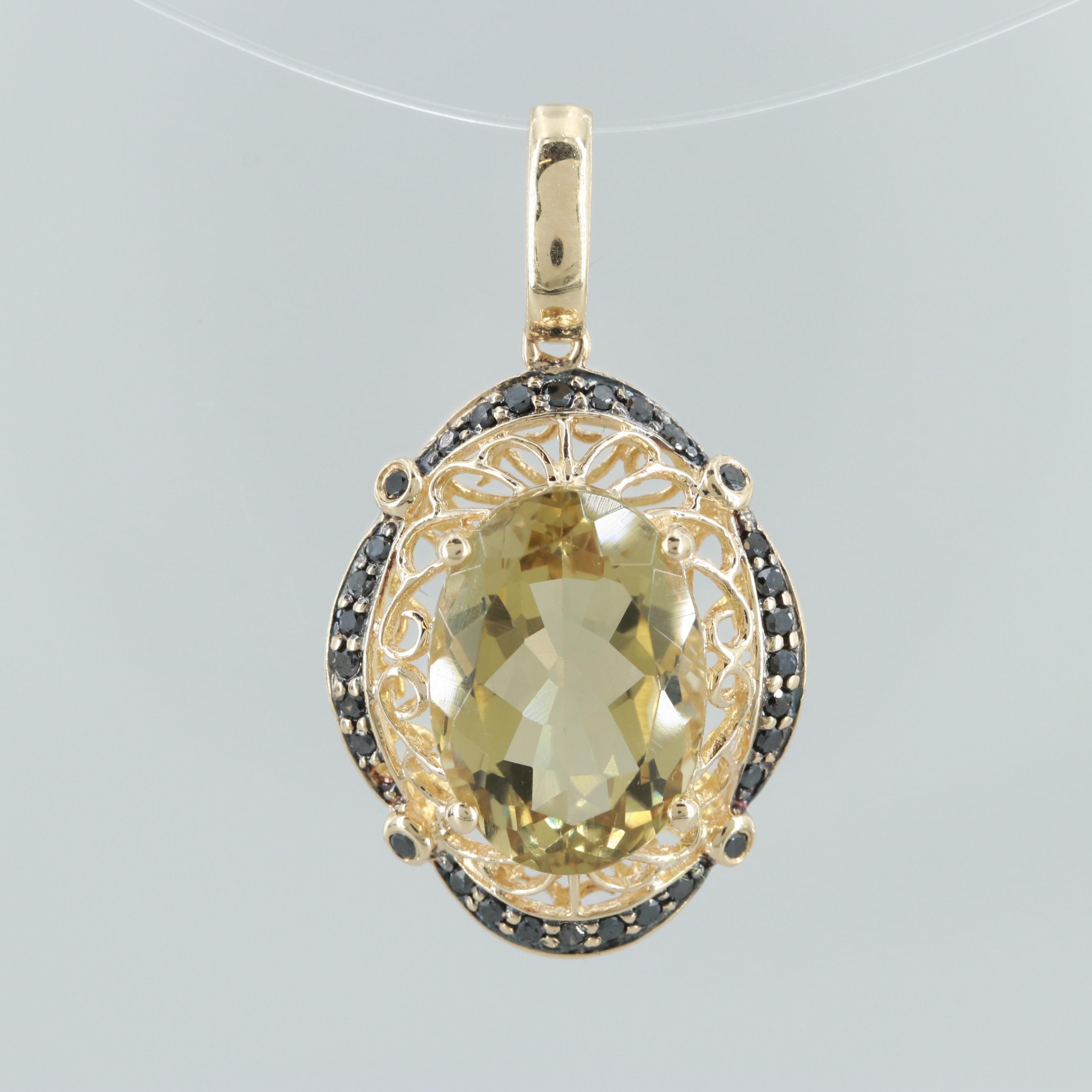 14K Yellow Gold Citrine and Black Diamond Pendant