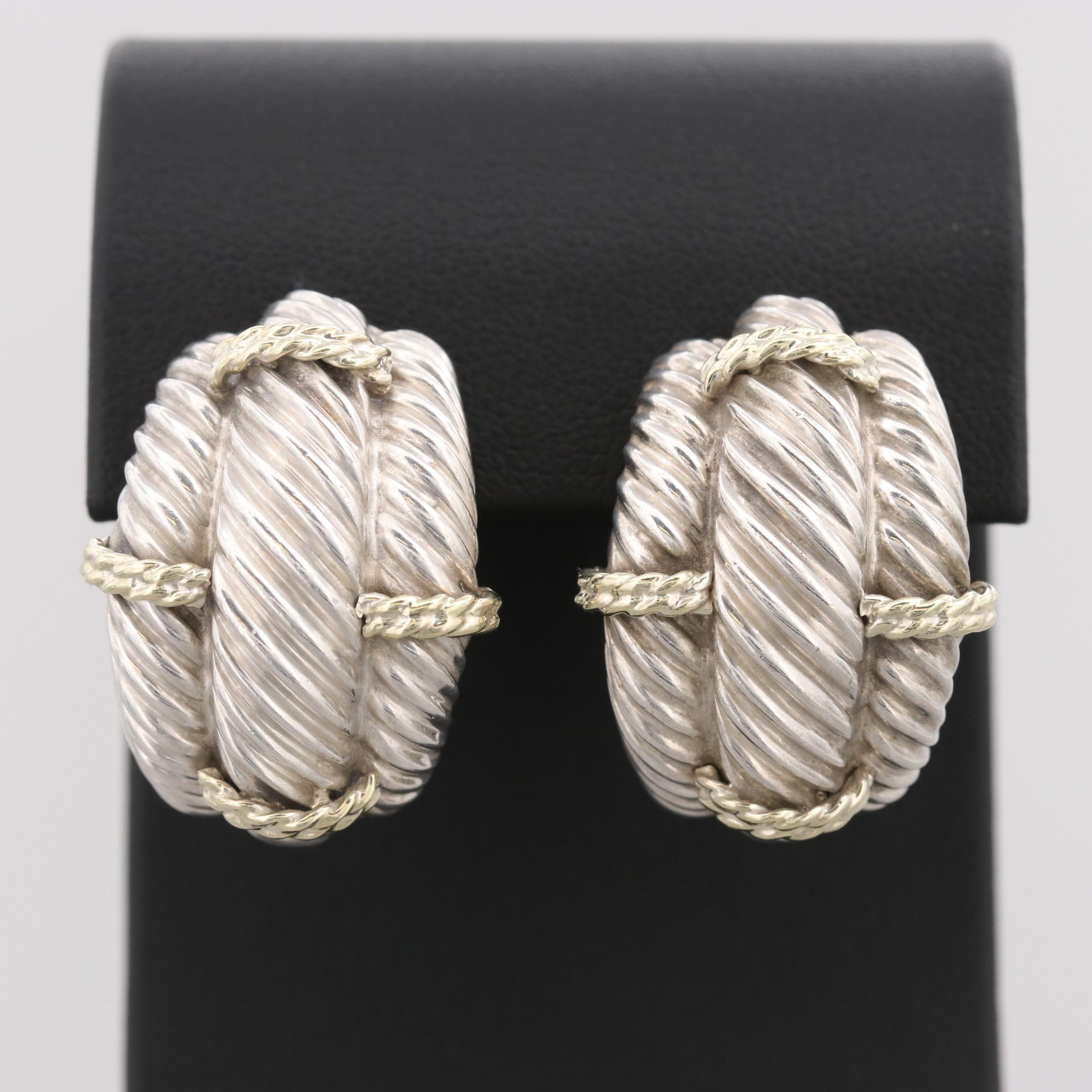 David Yurman Sterling Silver Earrings with 14K Yellow Gold Accents