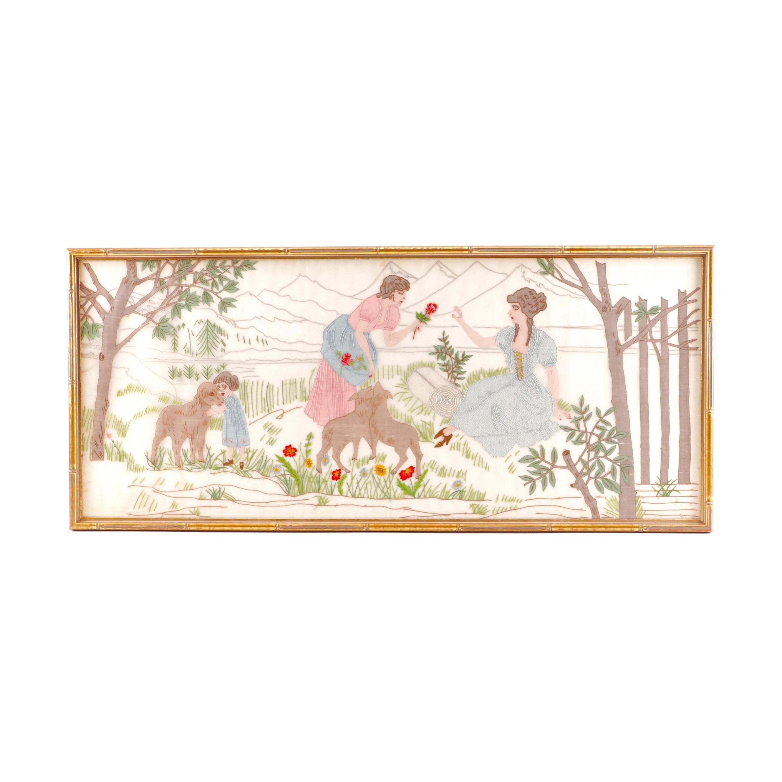 Framed Embroidered Textile Panel Depicting a Meadow Scene