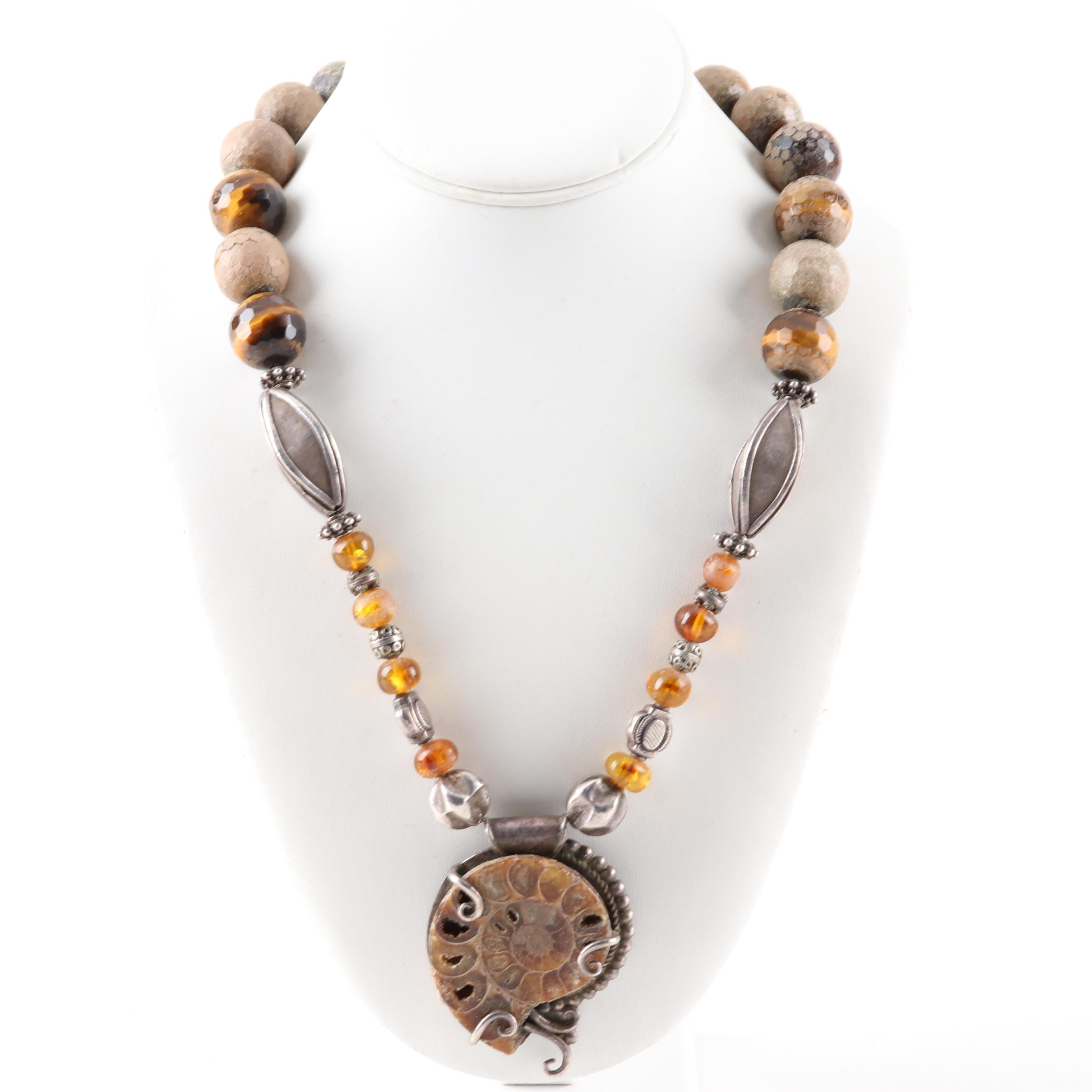 Sterling Silver Ammonite Nautilus Pendant on Tiger's Eye Bead Necklace