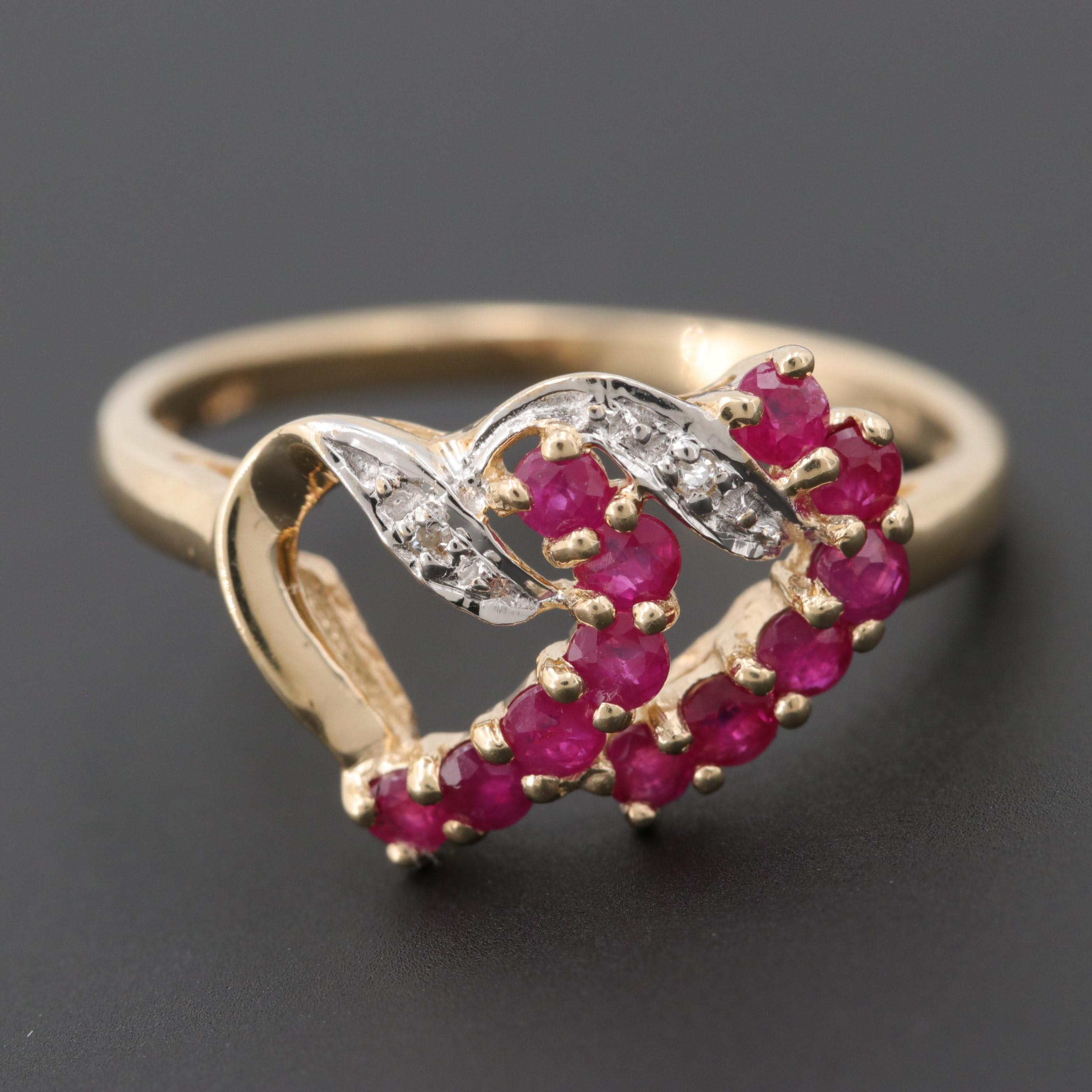 10K Yellow Gold Ruby and Diamond Double Heart Ring