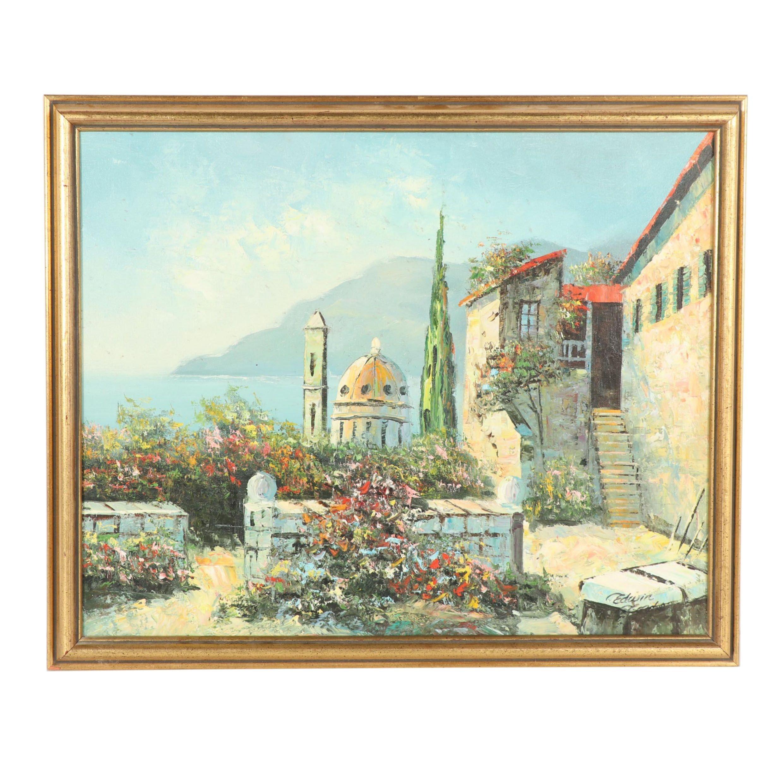Mid Century Mediterranean Scene Oil Painting