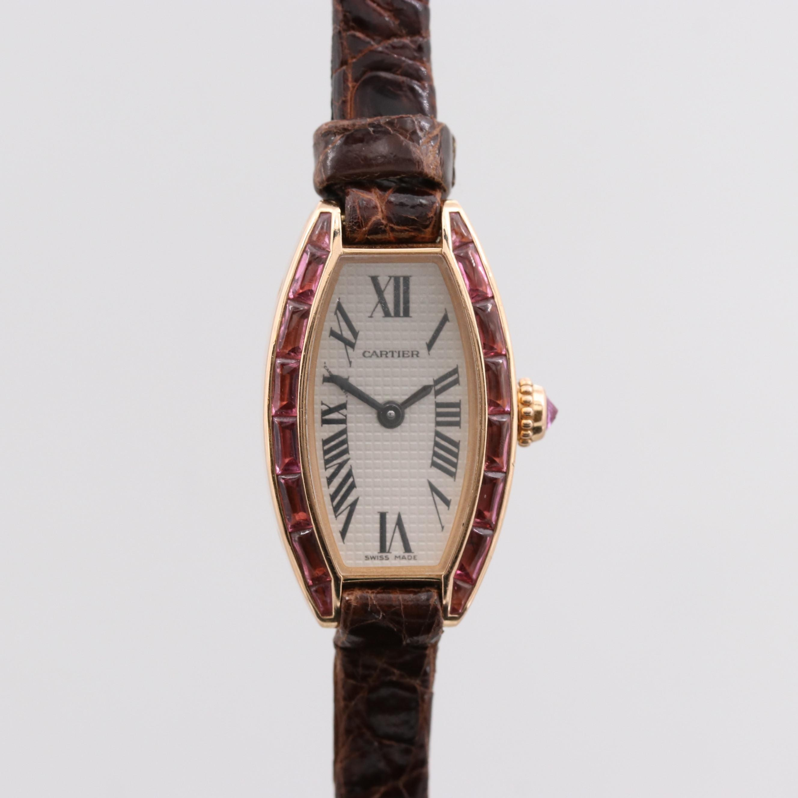 Cartier Lanières Special Edition 18K Rose Gold Wristwatch With Pink Tourmaline
