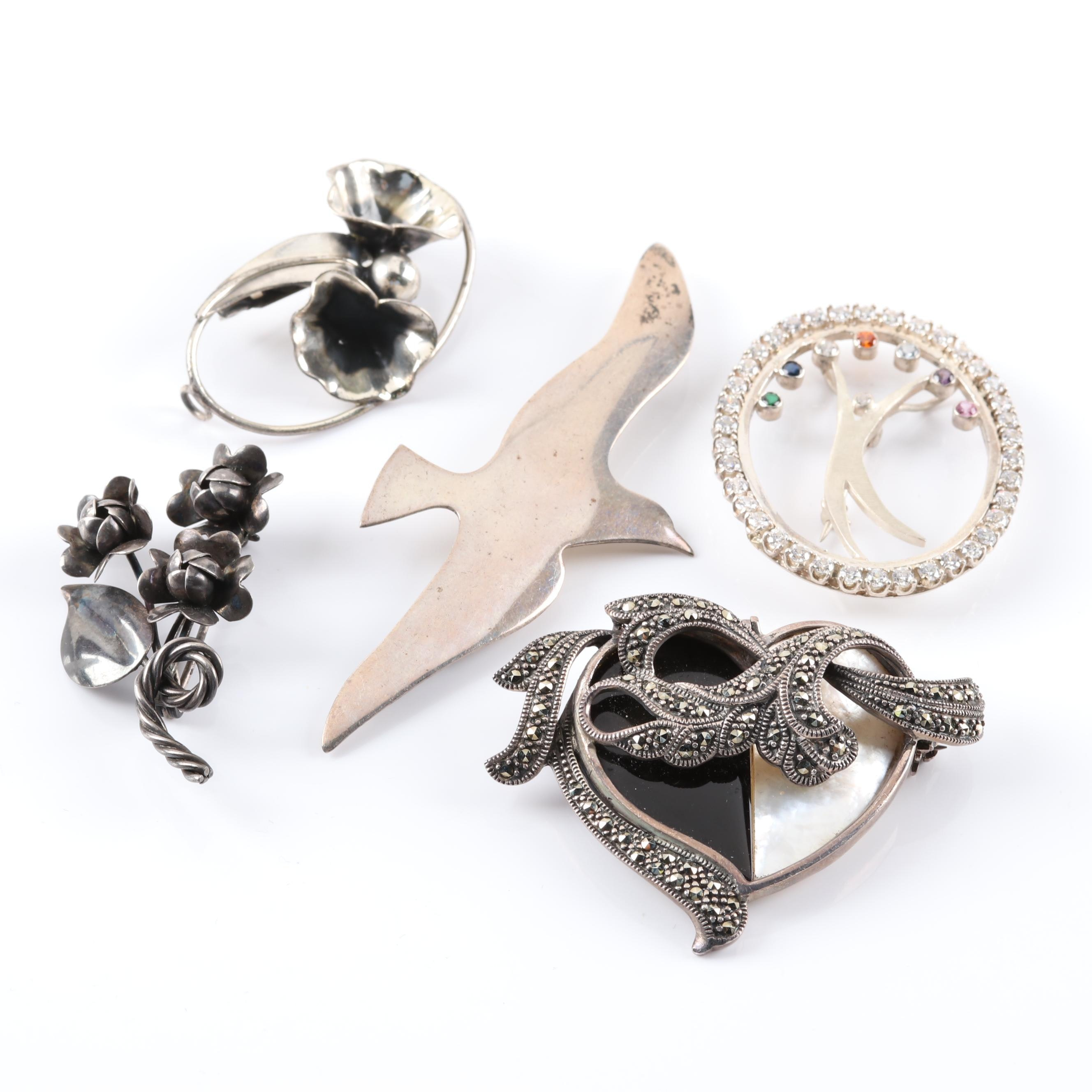 Handmade Sterling Silver Brooches featuring Mother of Pearl and Black Onyx