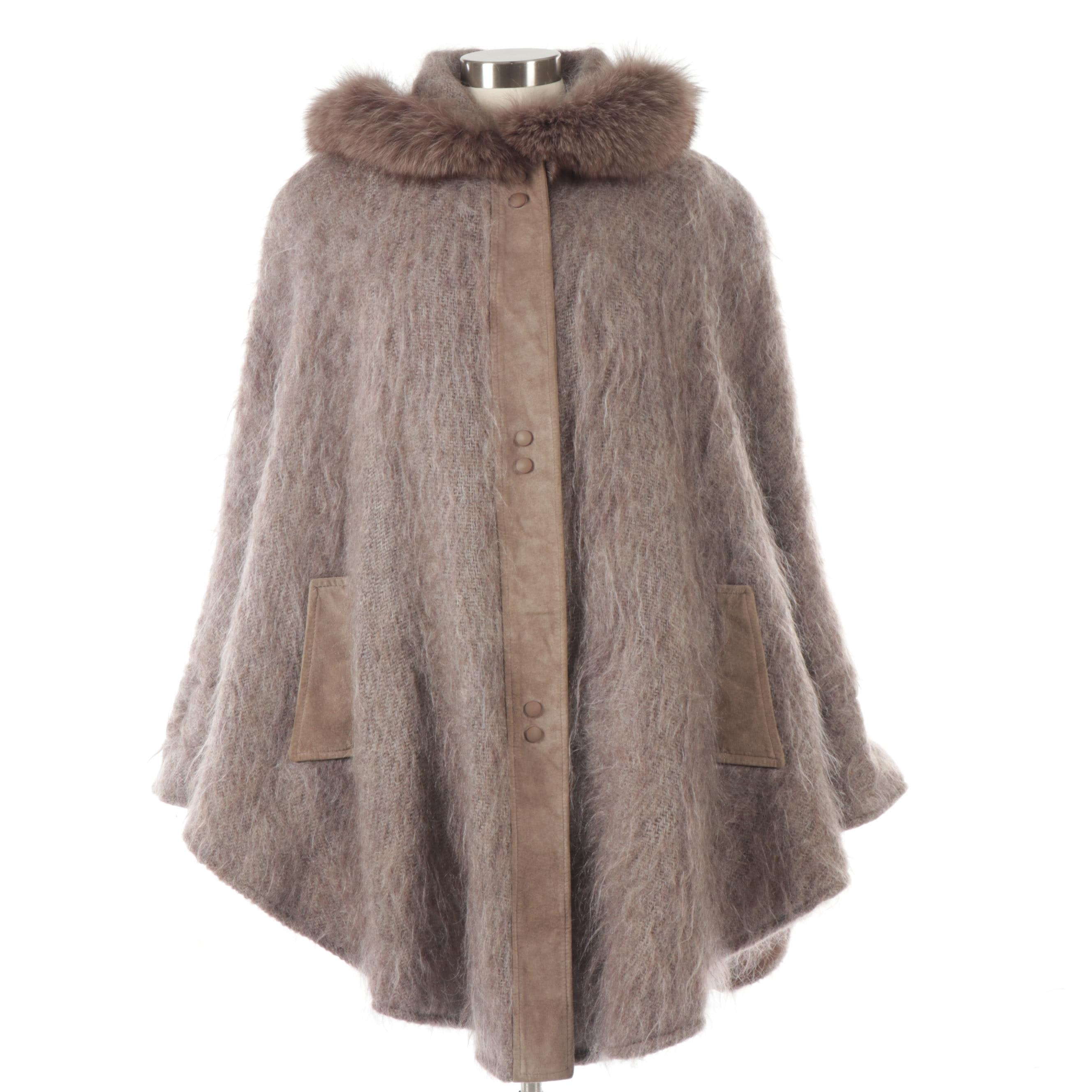 Women's Jinx Senior Mohair and Wool Blend Cape with Suede and Fox Fur Trim