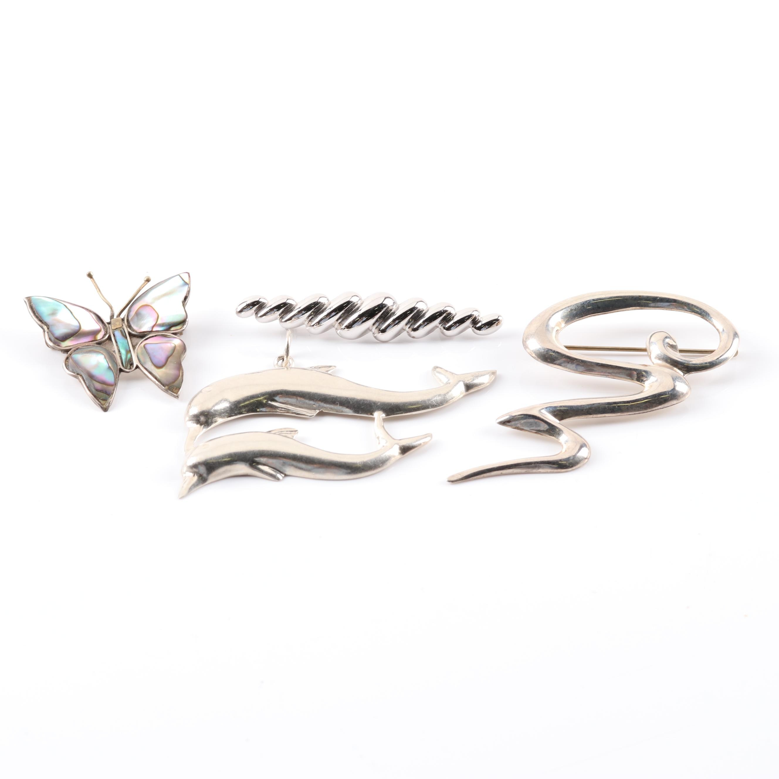 Sterling Silver Brooches and Pendant featuring Beau