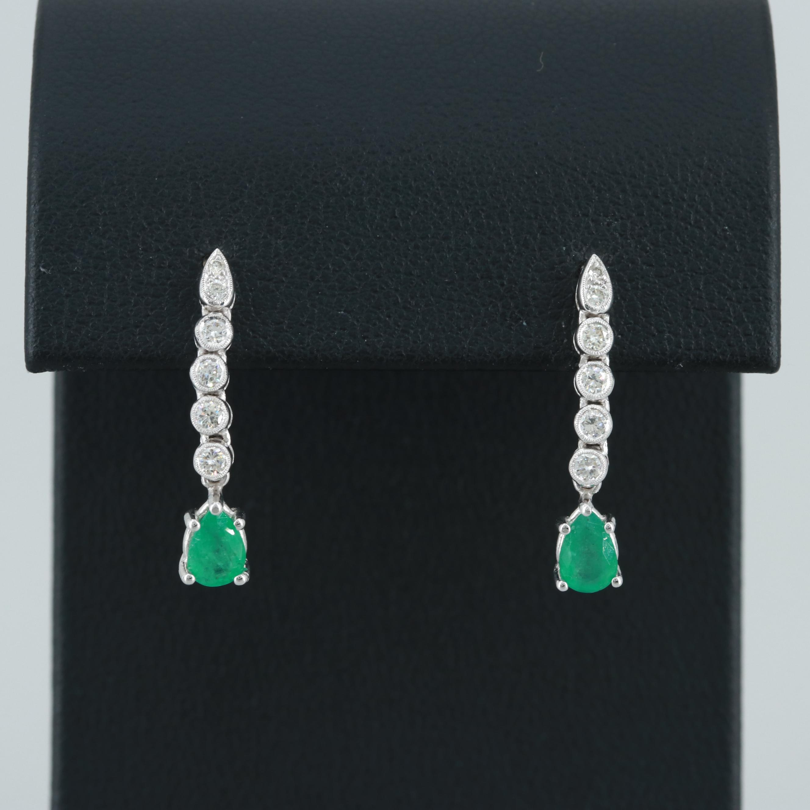 14K and 18K White Gold Emerald and Diamond Earrings