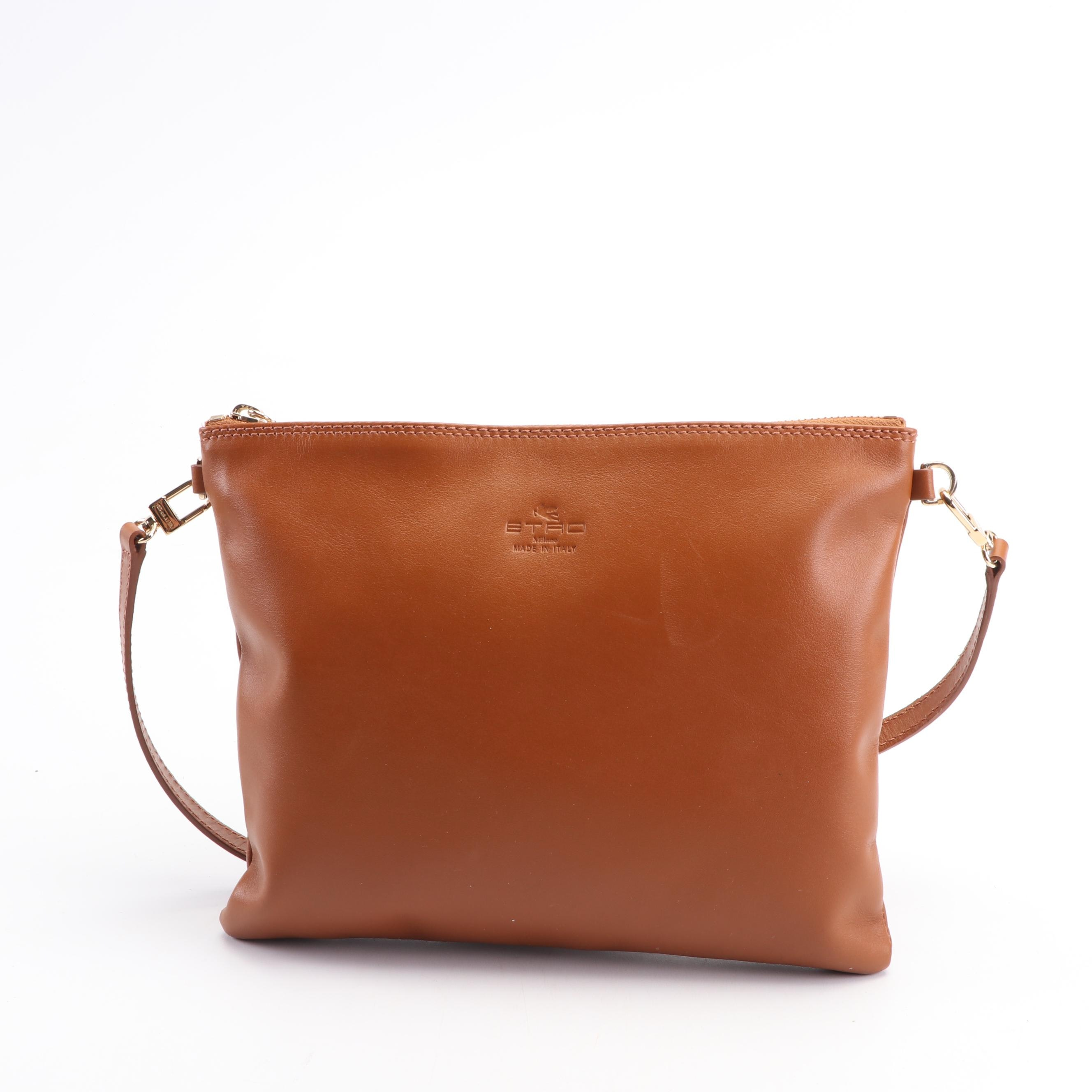 Etro Milano Cognac Leather Convertible Shoulder Bag, Made in Italy