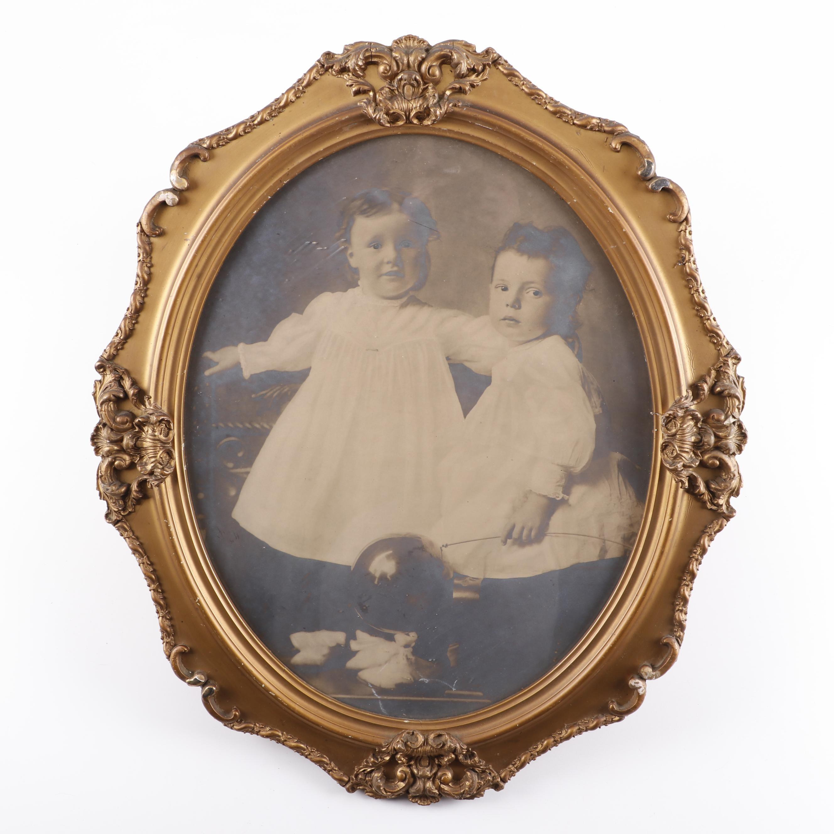 Antique Portrait Photograph in Gilt Wood Frame