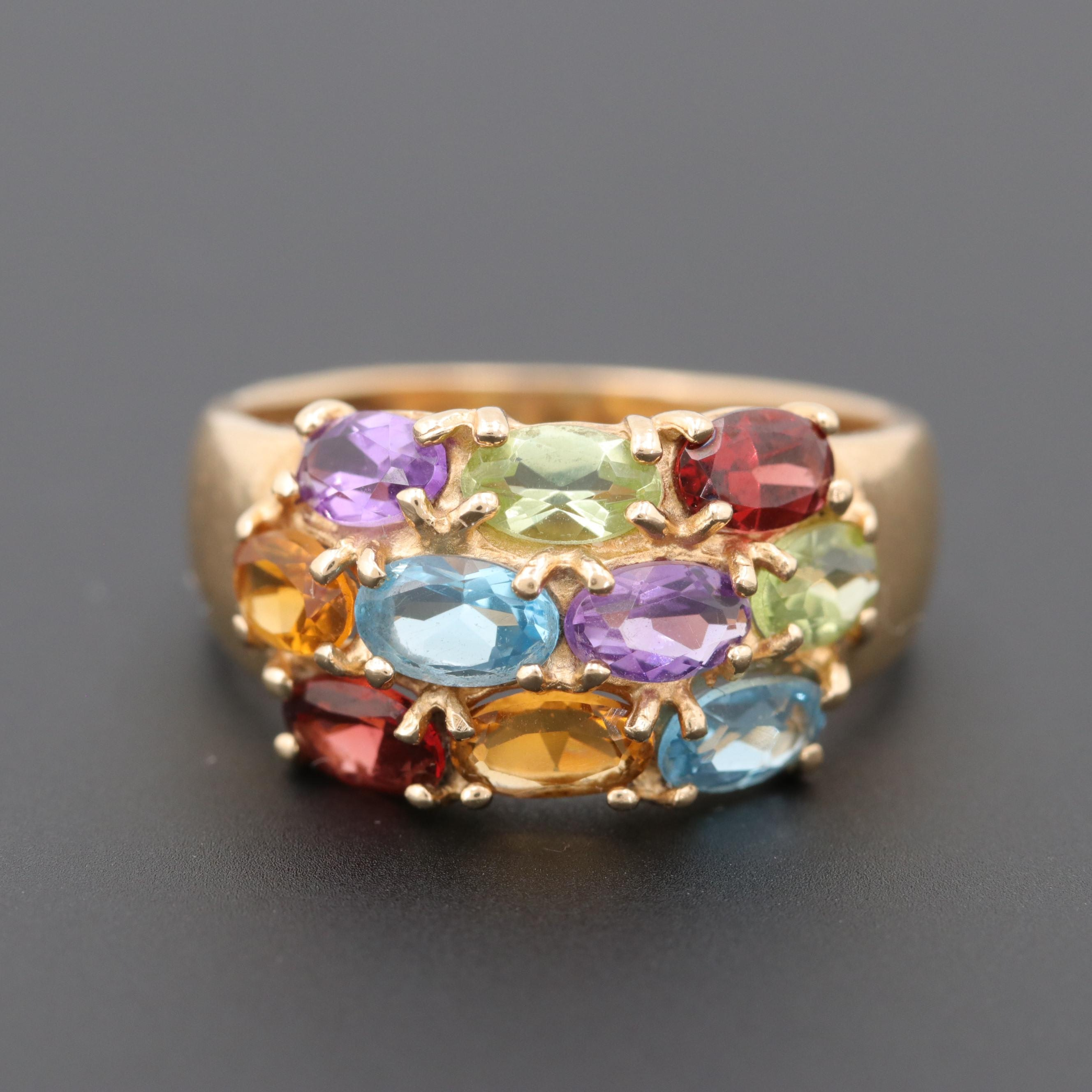 14K Yellow Gold Citrine, Topaz, and Other Gemstone Ring
