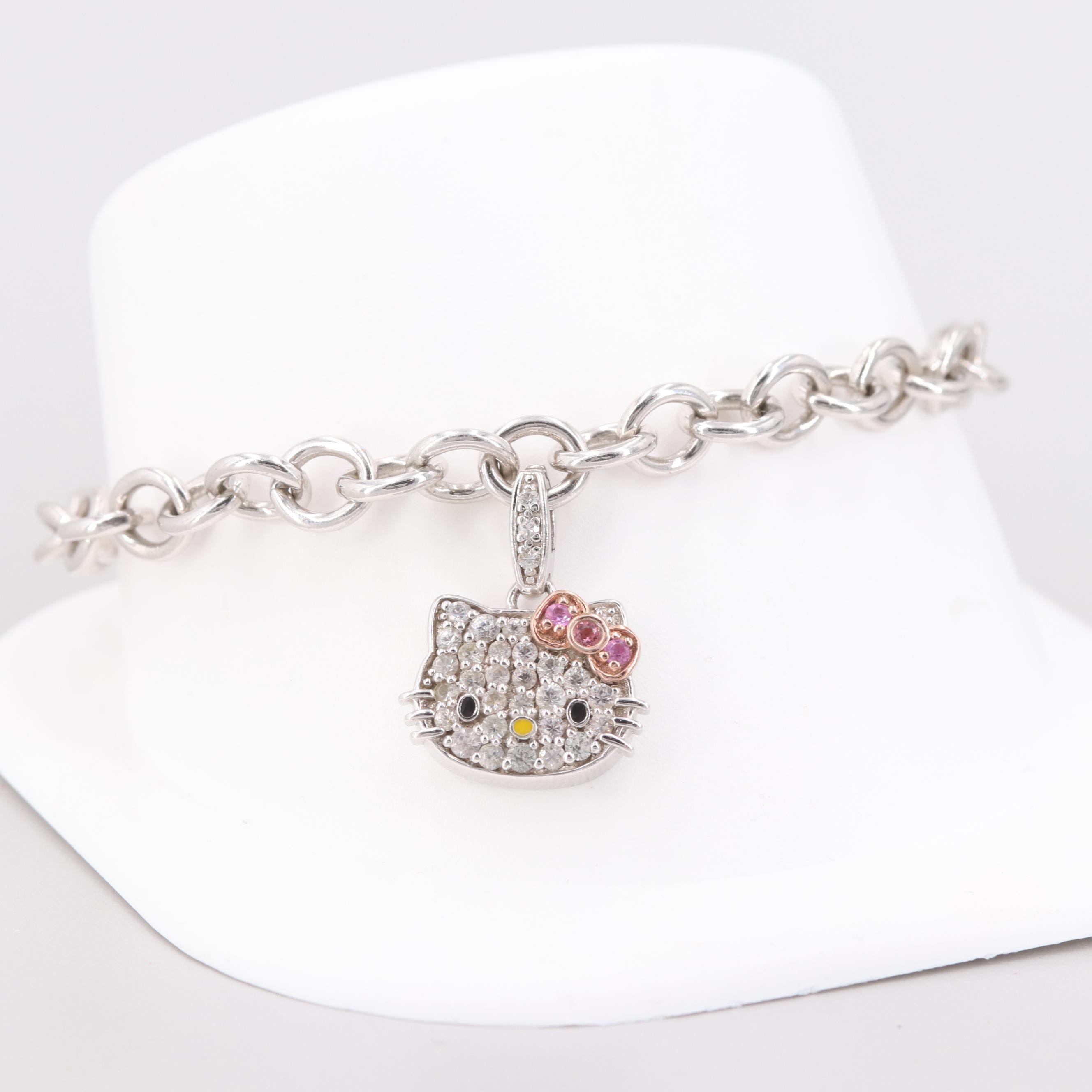 """Sterling Silver Pink Tourmaline and White Topaz """"Hello Kitty"""" Charm Bracelet"""