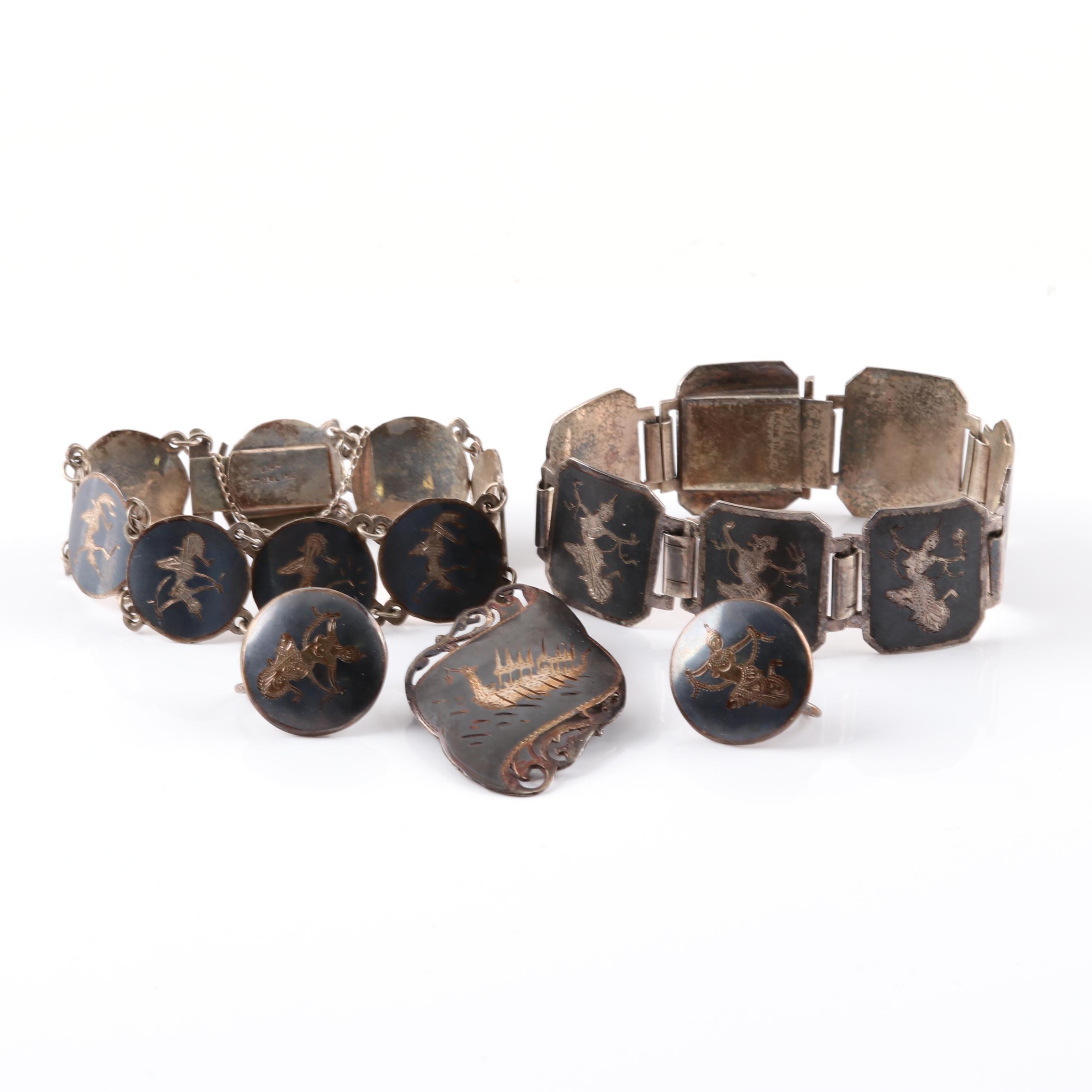 Sterling Silver Bracelet Parure with Non-pierced Earrings