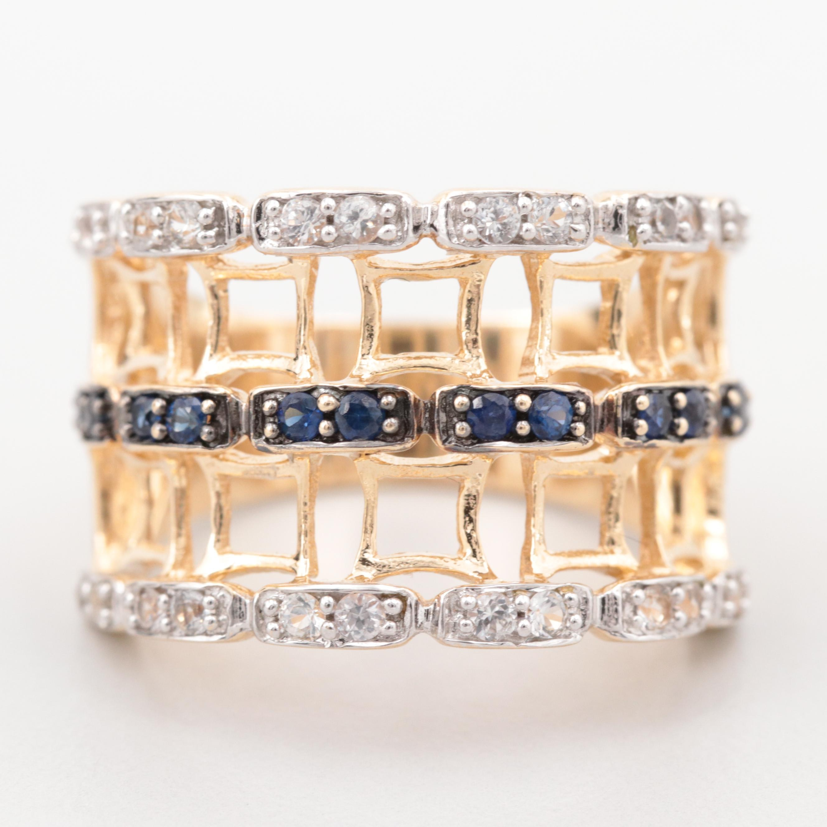 14K Yellow Gold Blue and White Sapphire Ring with Openwork Band