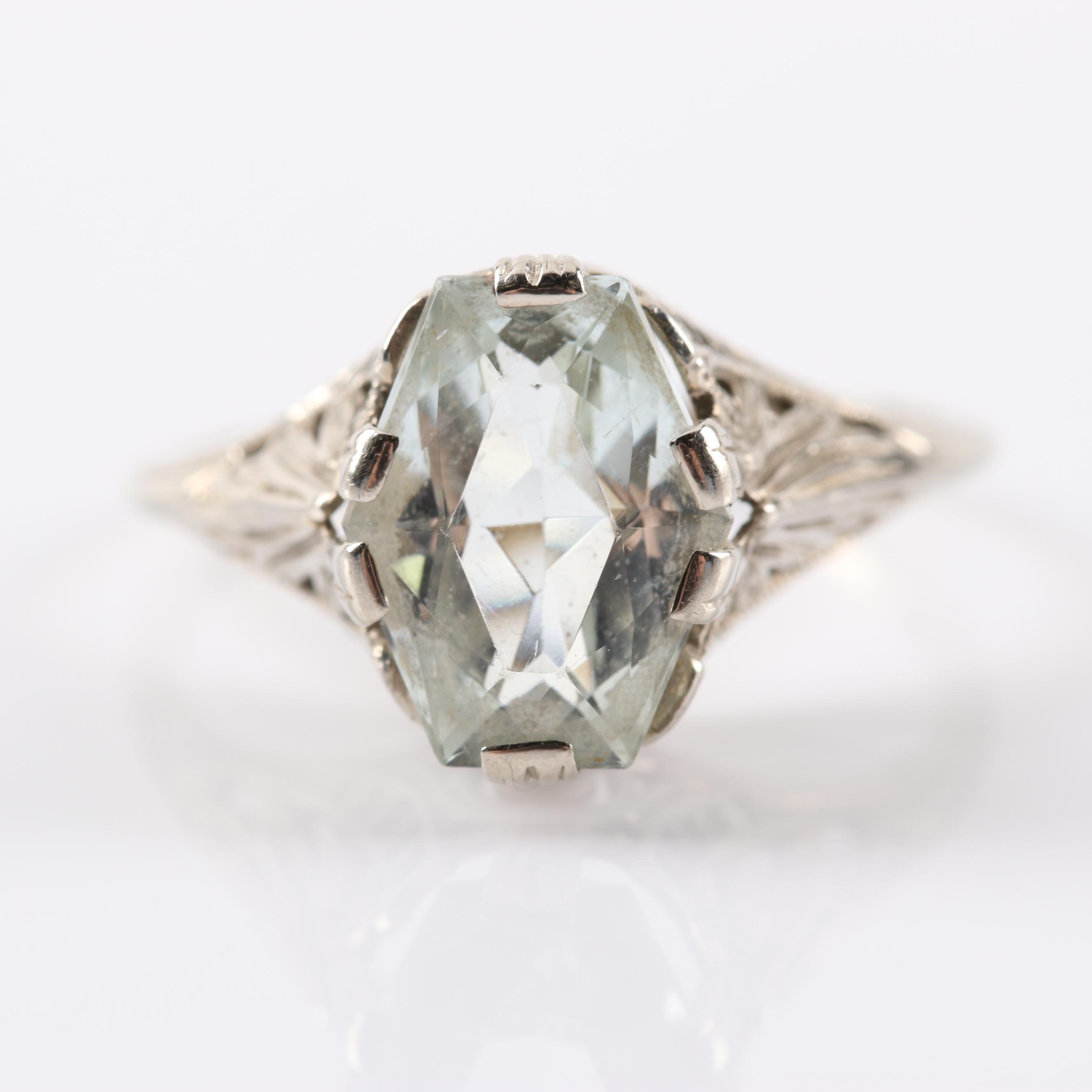 Vintage 14K White Gold 2.01 CT Aquamarine Filigree Ring