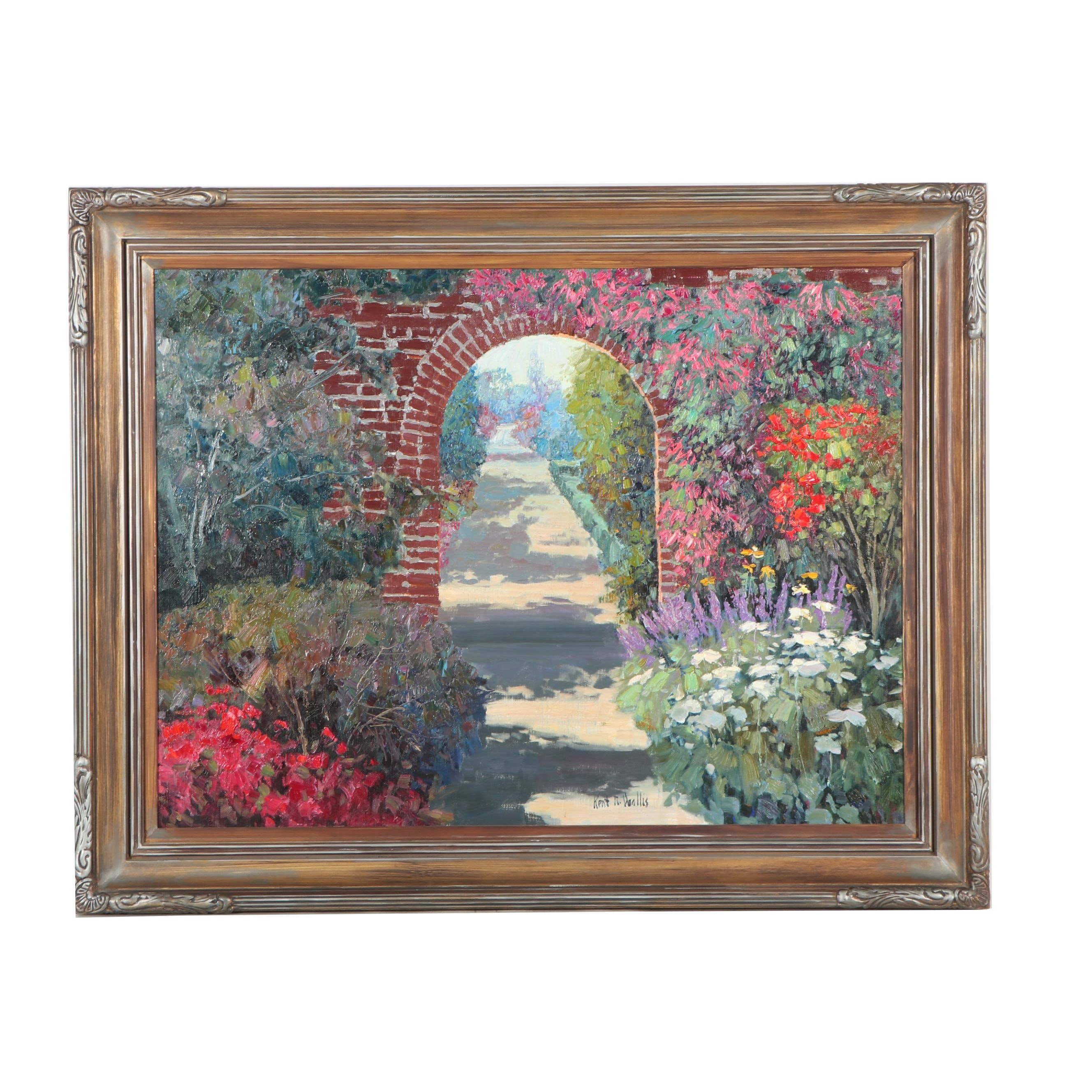 "Kent Wallis Oil Painting ""Garden Arch"""