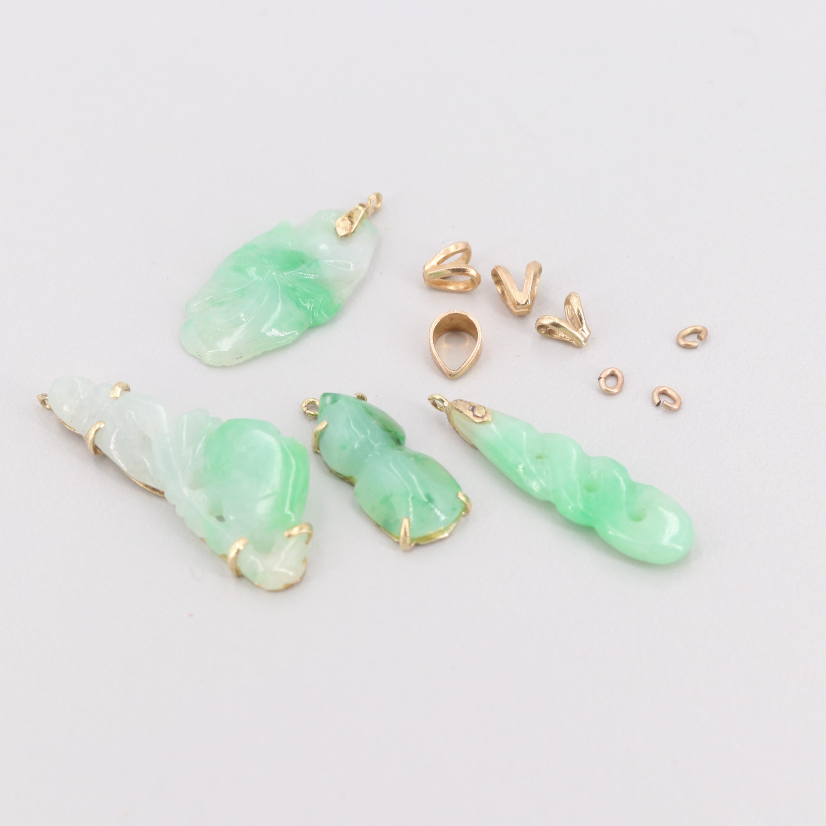 14K Yellow Gold and Gold Tone Jadeite Scrap Lot