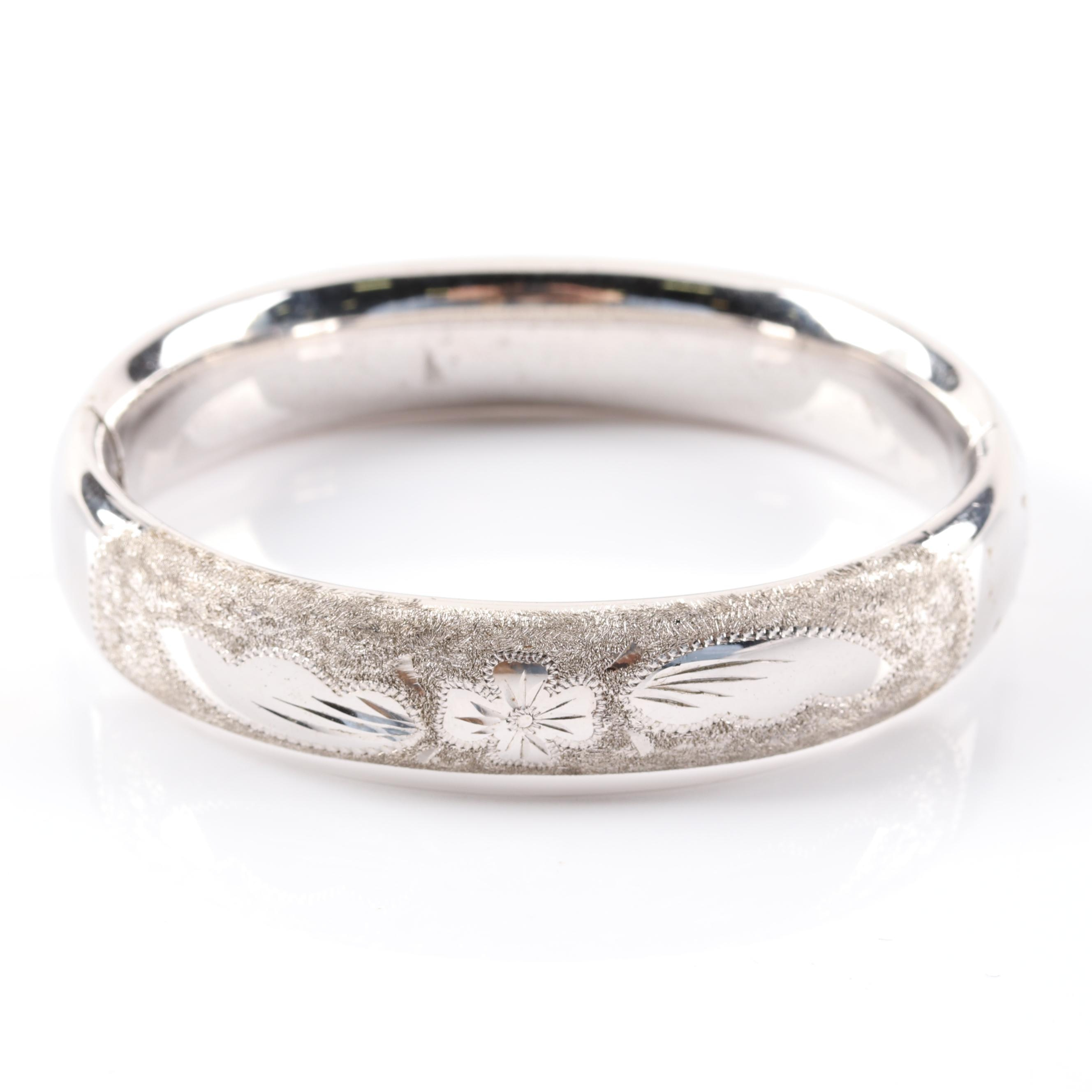 Kestenmade Sterling Silver Etched Bangle Bracelet