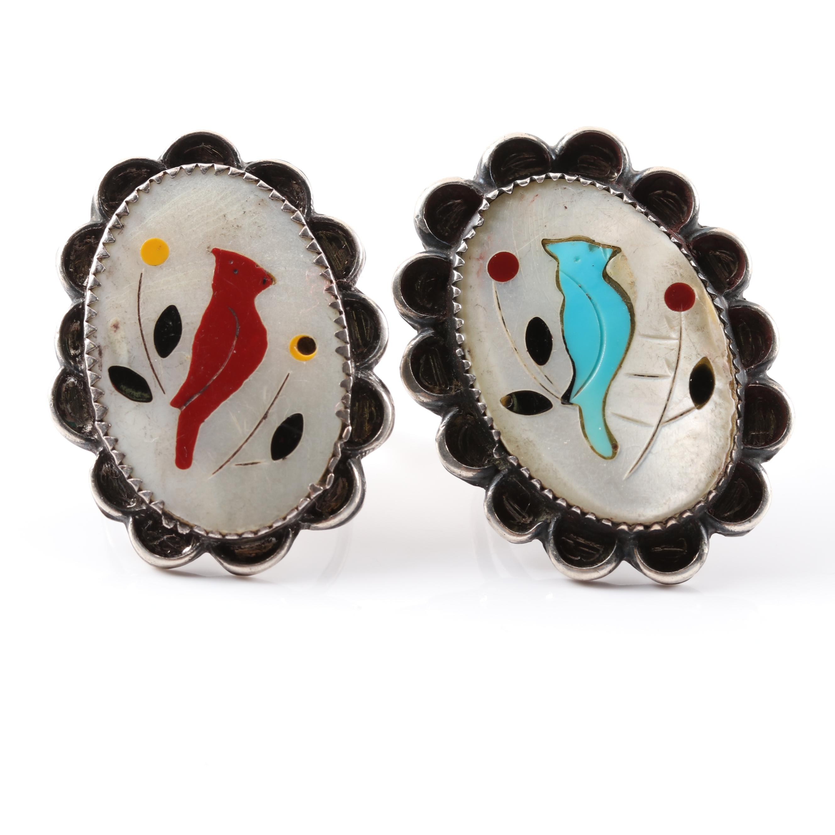 Sterling Silver Mother of Pearl Inlay Rings