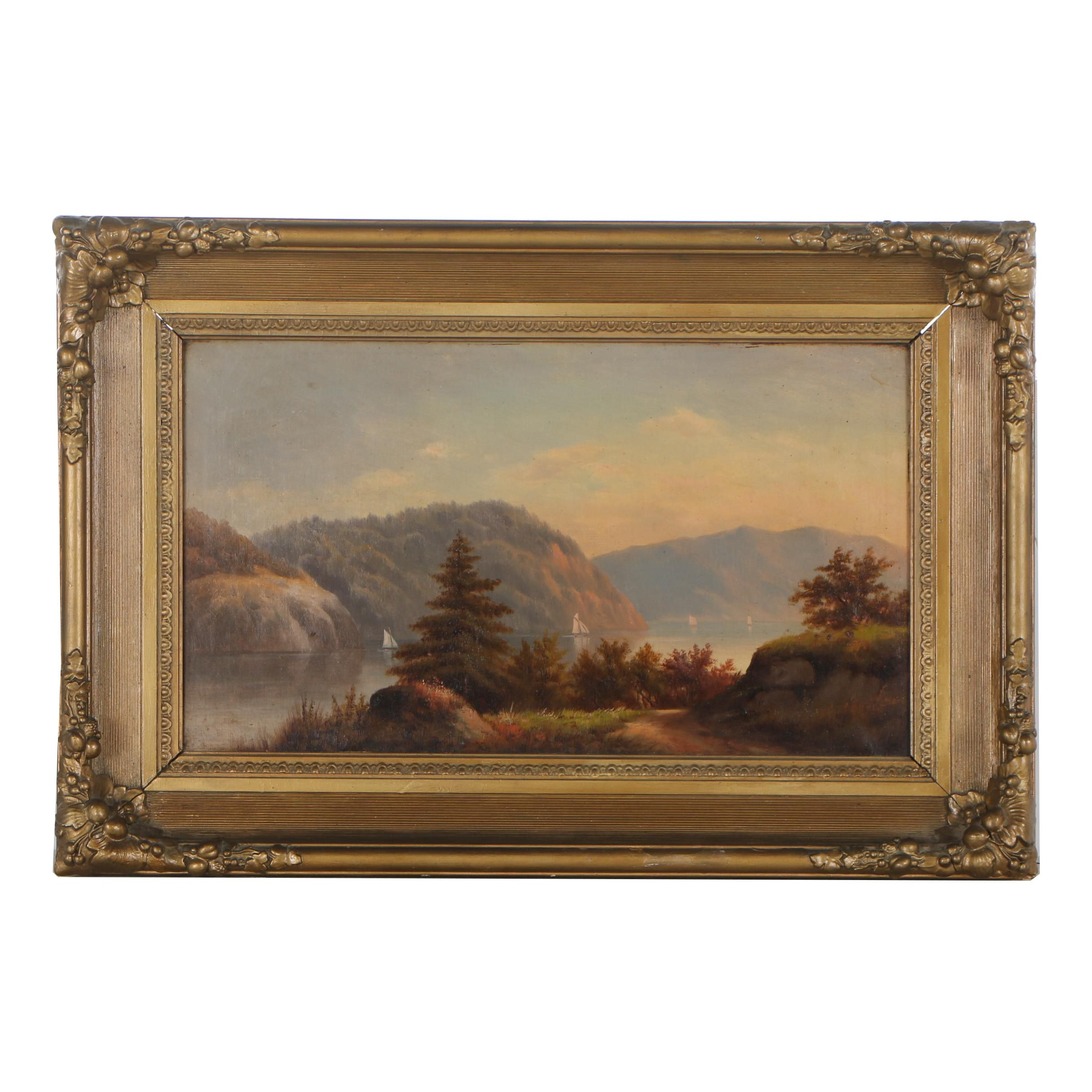 19th Century Hudson River School Oil Painting of River Landscape