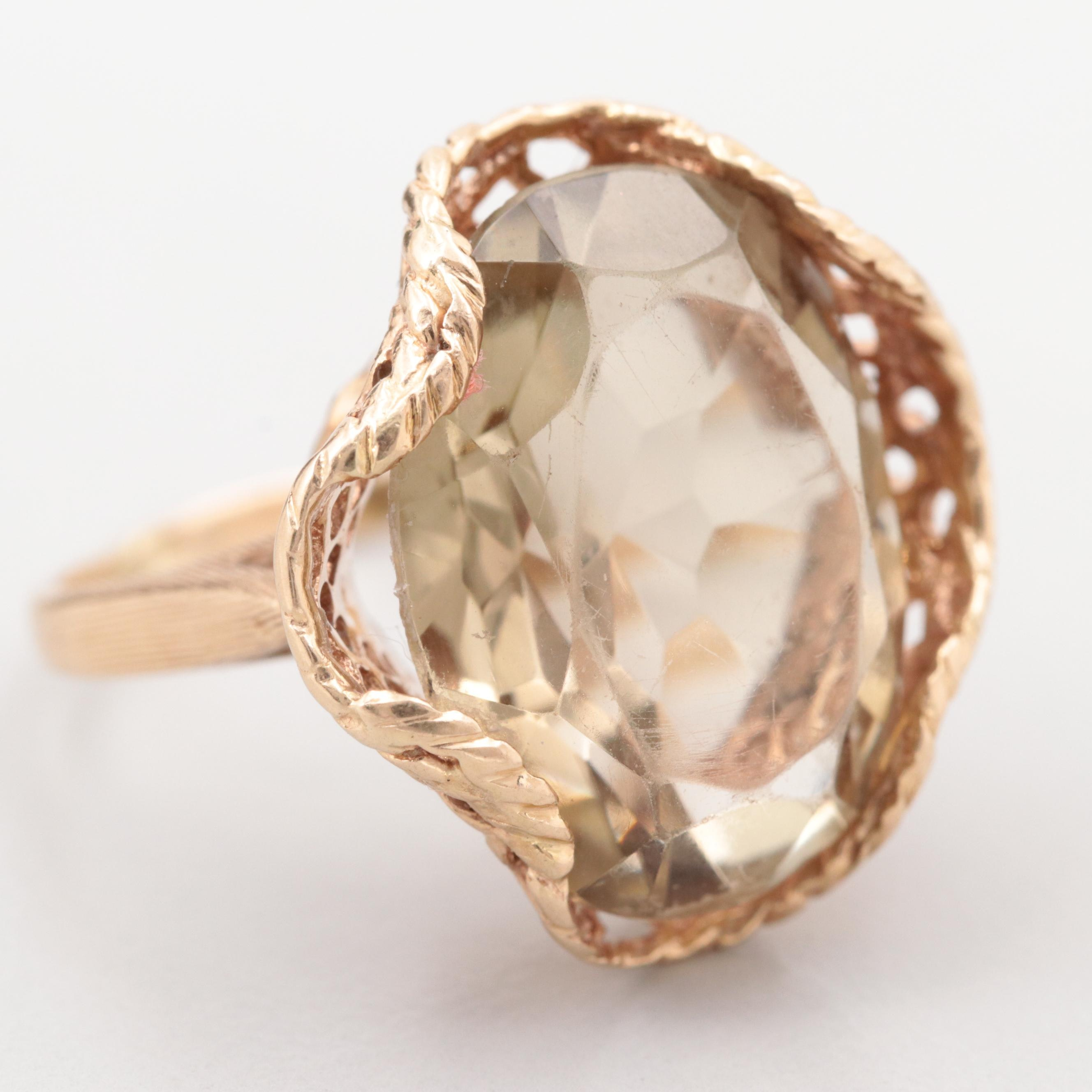14K Yellow Gold Citrine Ring in Basketweave Mounting
