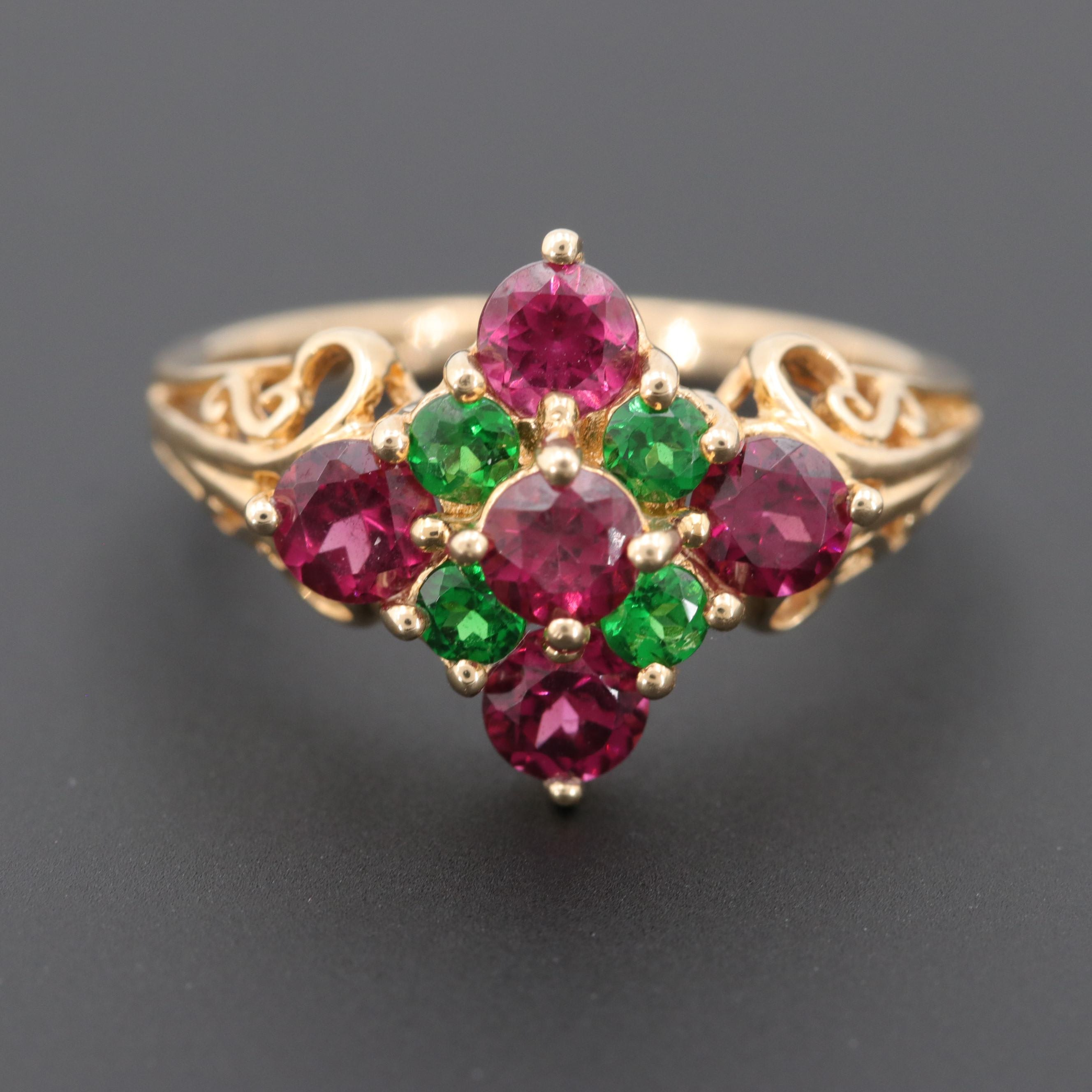 14K Yellow Gold Rhodolite Garnet and Chrome Diopside Ring