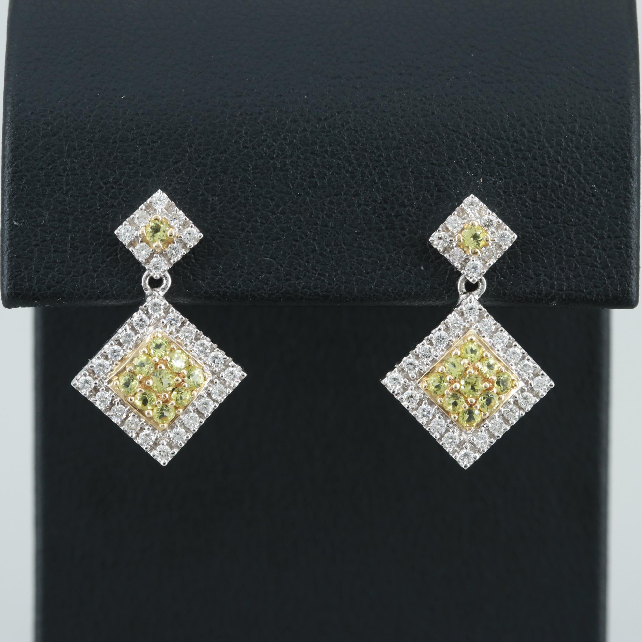 14K White Gold Apatite and Diamond Earrings with Yellow Gold Accents