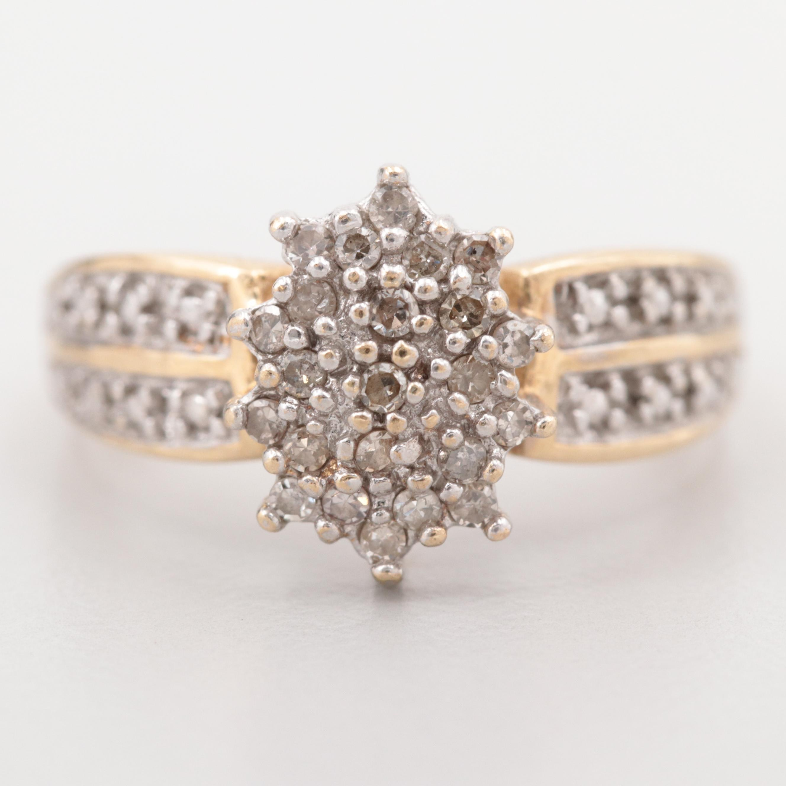 10K Yellow Gold Diamond Cluster Ring with White Gold Accents