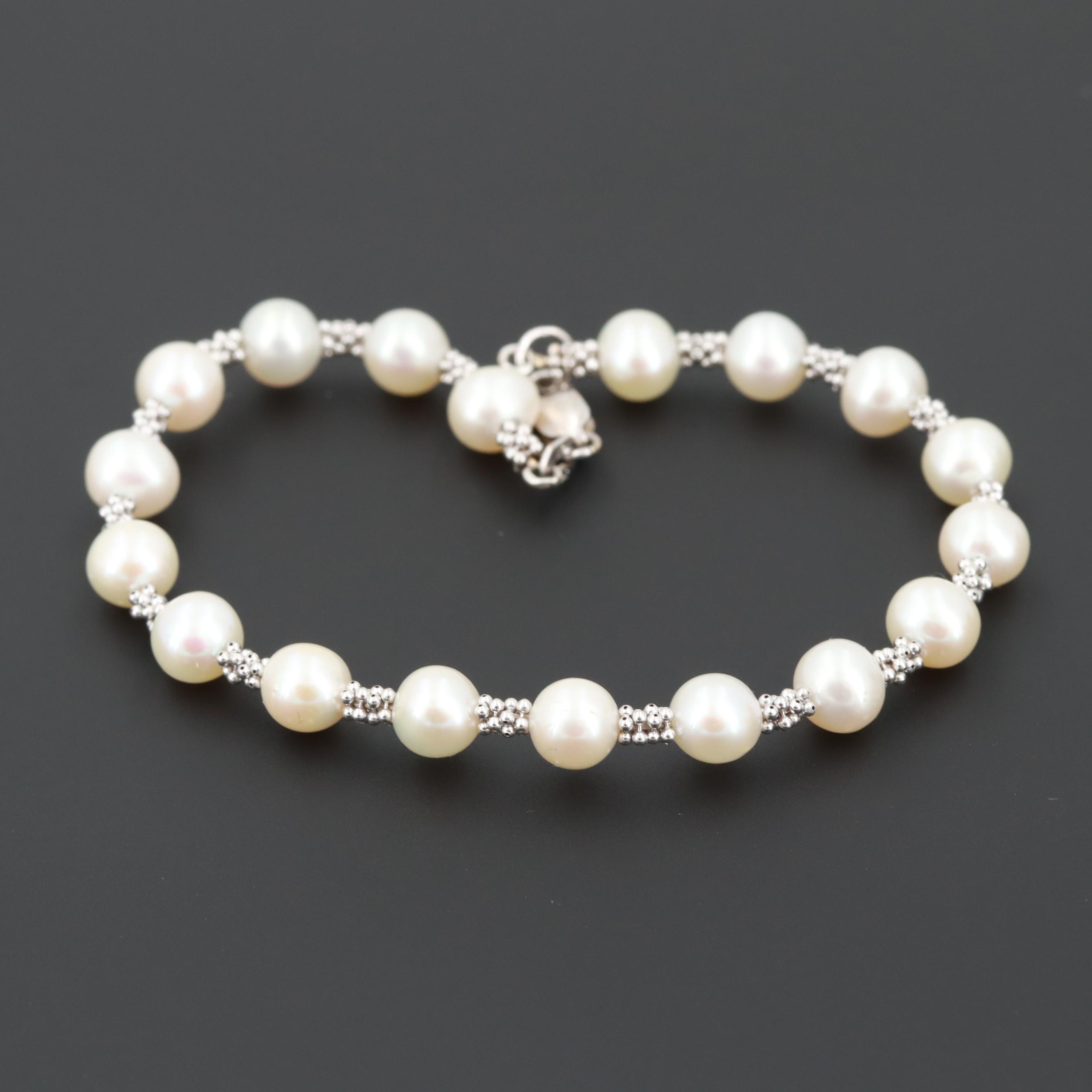 14K White Gold Cultured Pearl Bracelet