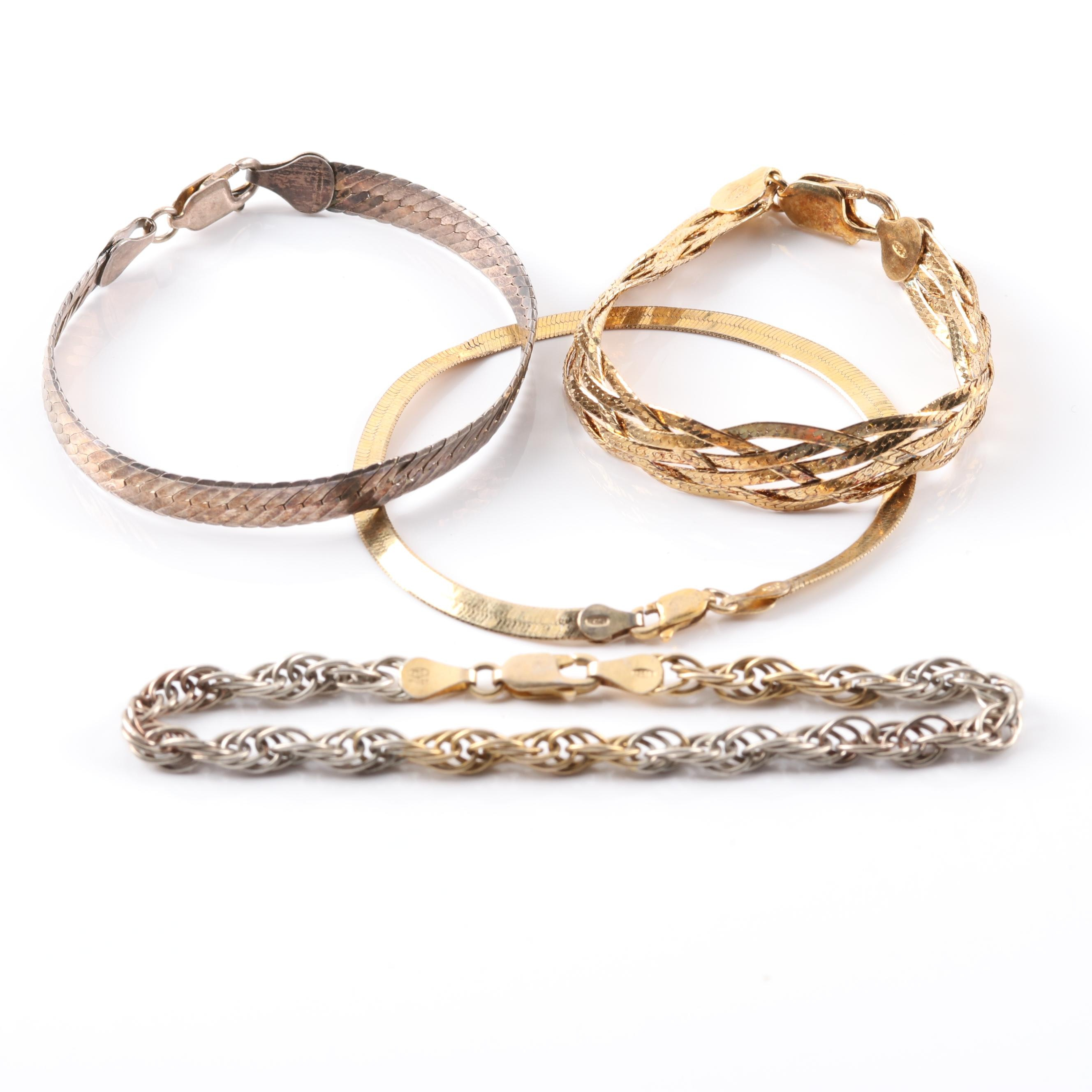 Sterling Silver and Goldwashed Bracelets