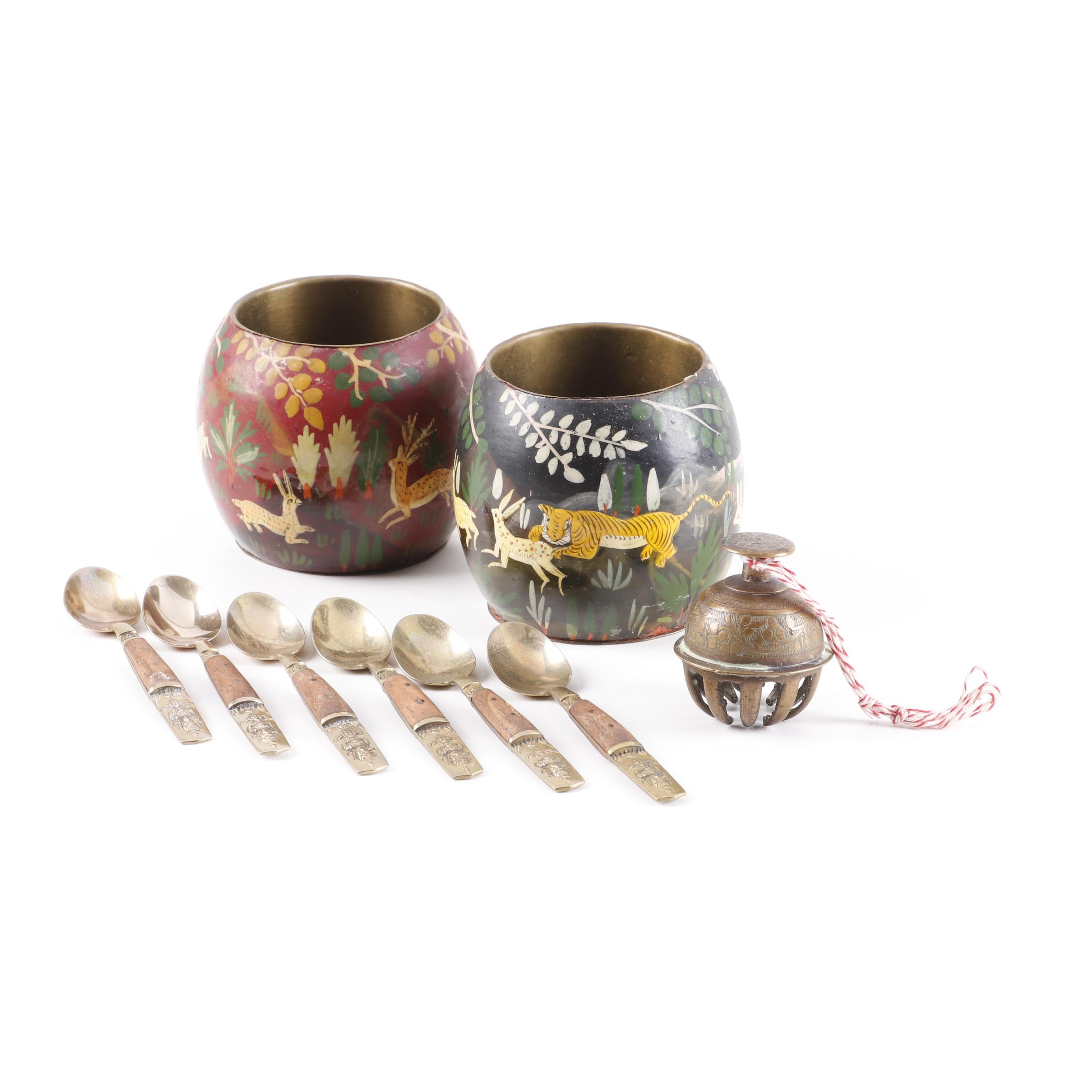 Thai Flatware with Hand Painted Pots