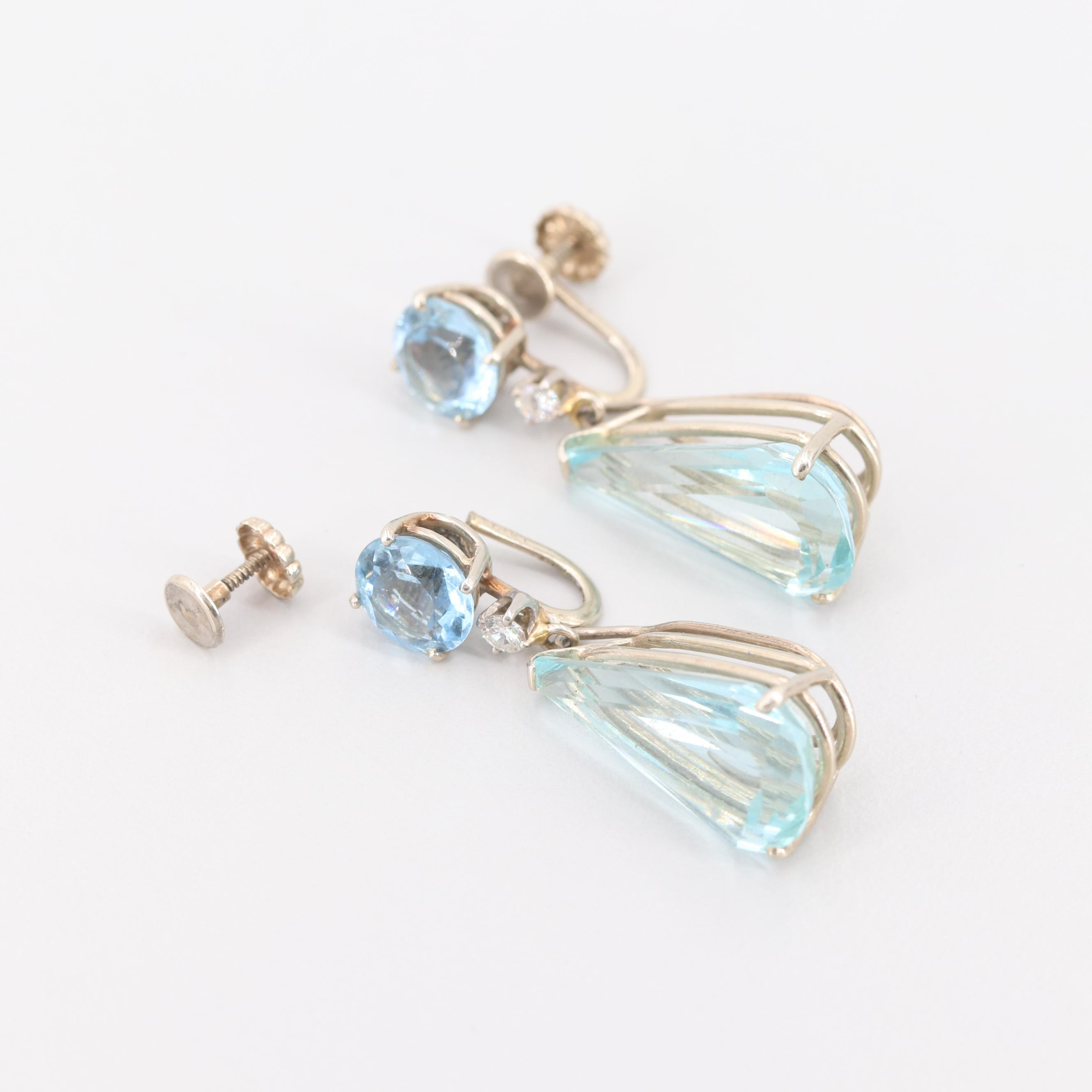 14K White Gold Aquamarine and Diamond Earrings with Removable Dangles