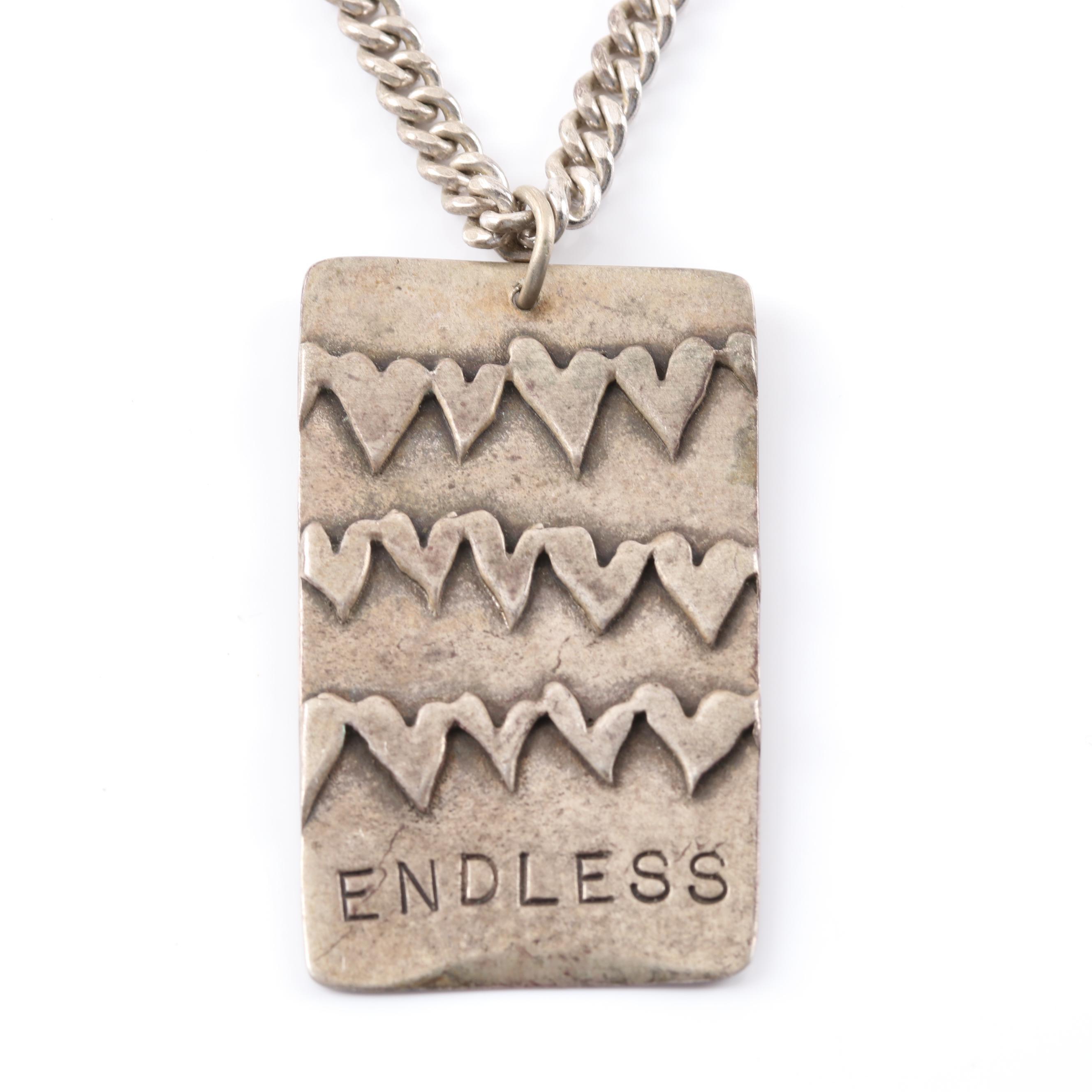 "Sterling Silver ""ENDLESS"" Plaque Pendant Necklace"