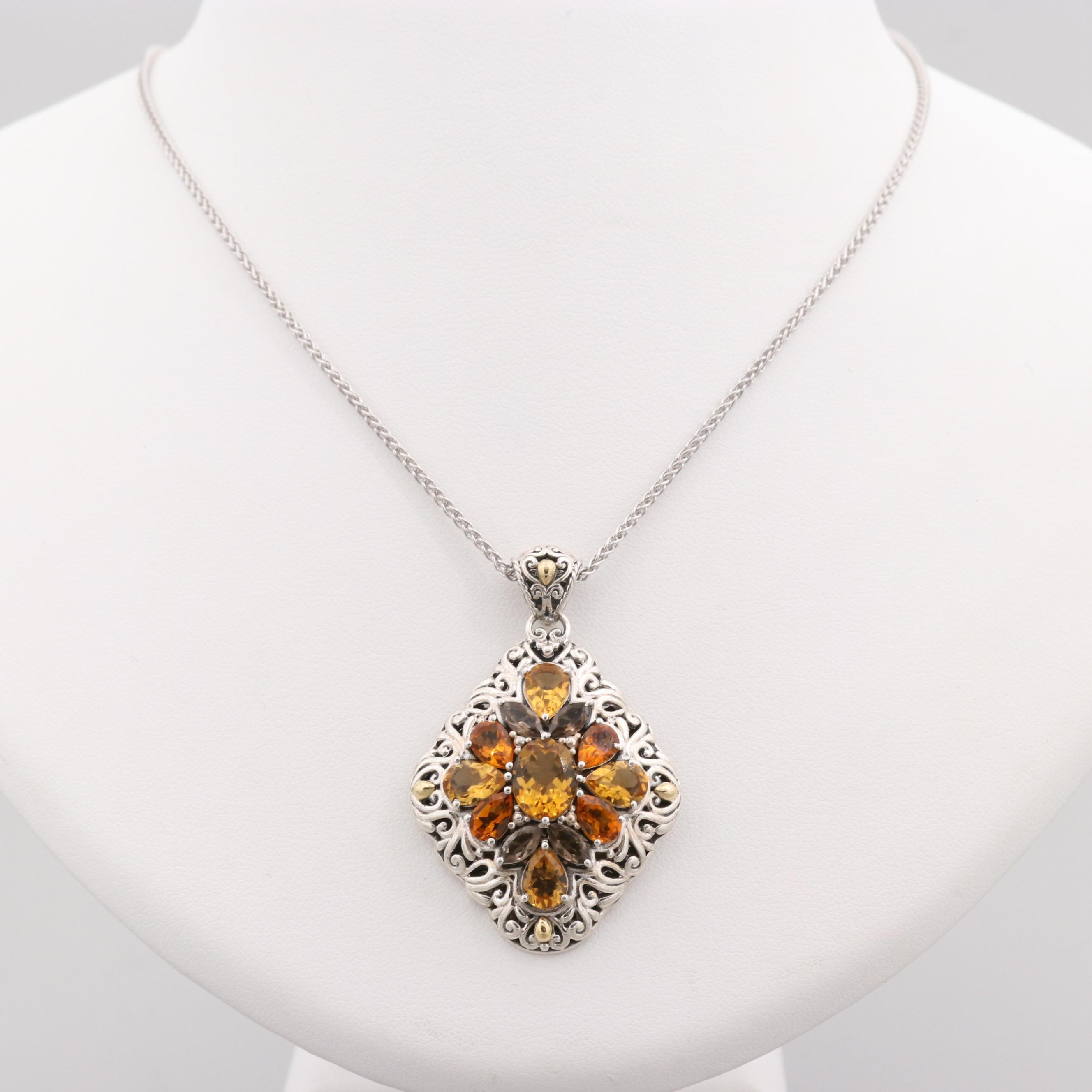 Robert Manse Sterling Citrine and Smoky Quartz Necklace with 18K Gold Accents
