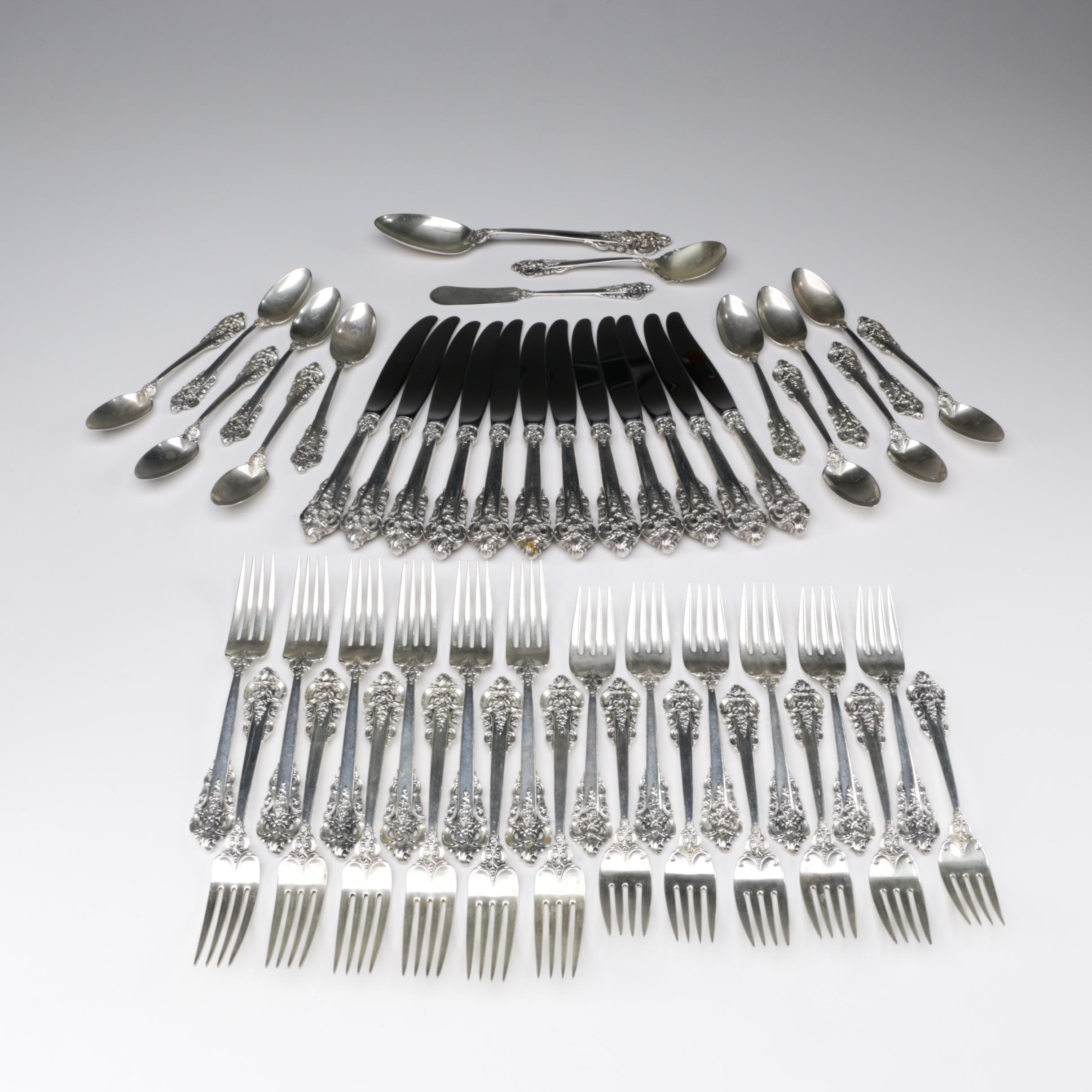"Wallace ""Grand Baroque"" Sterling Flatware Set for Twelve"