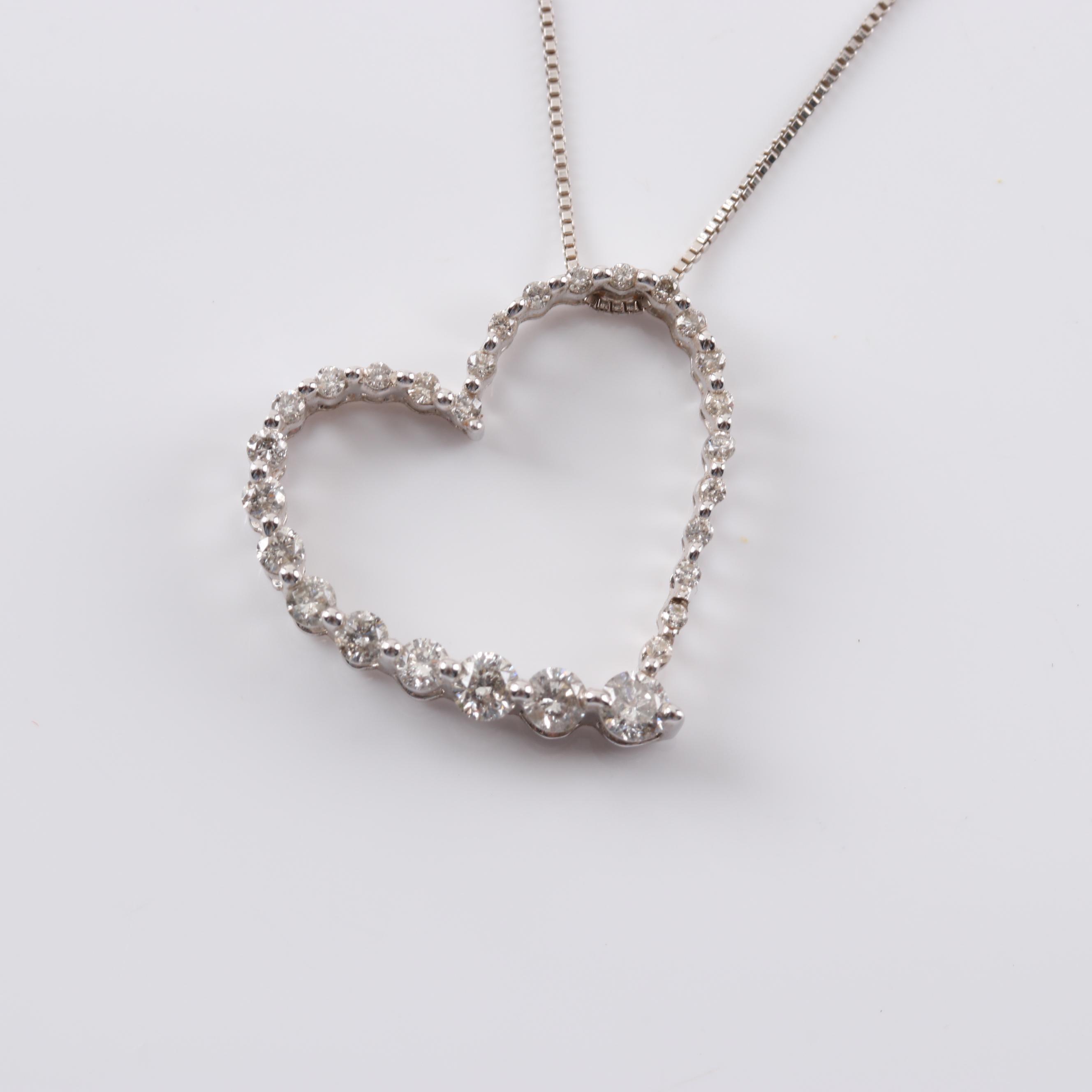 10K White Gold Open Heart Diamond Heart Pendant Necklace