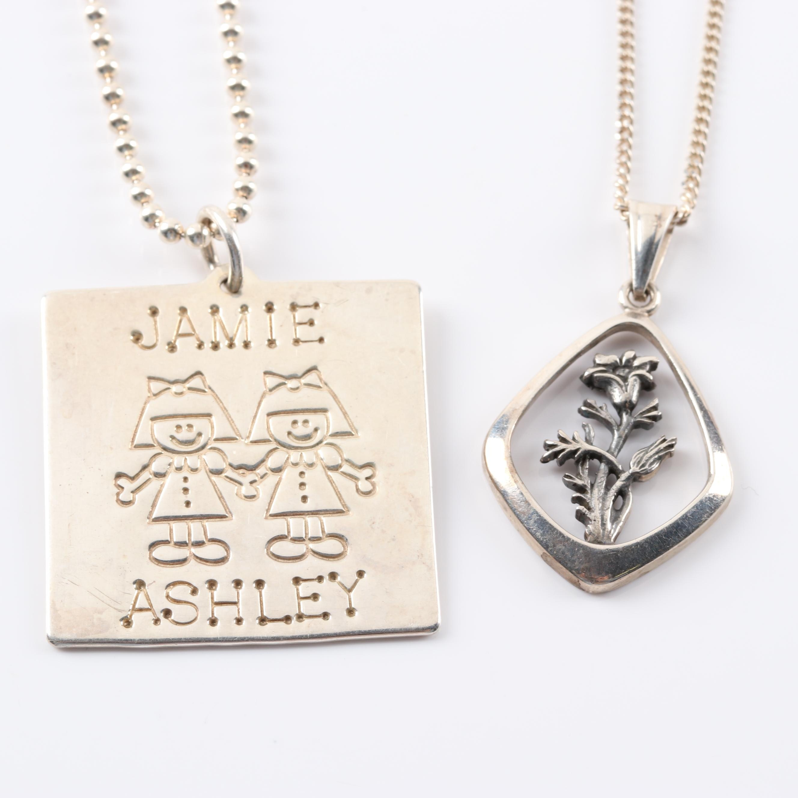 Sterling Silver Lucy Ann Elements Charm and Alton Flower Pendant Necklaces