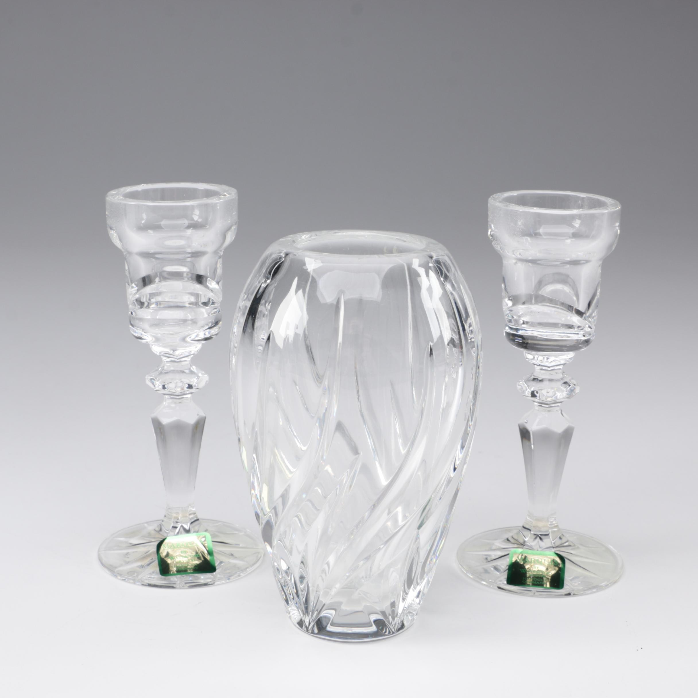 "Waterford Crystal ""Calais"" Candlestick Holders and Wyndmere Collection Posy Vase"