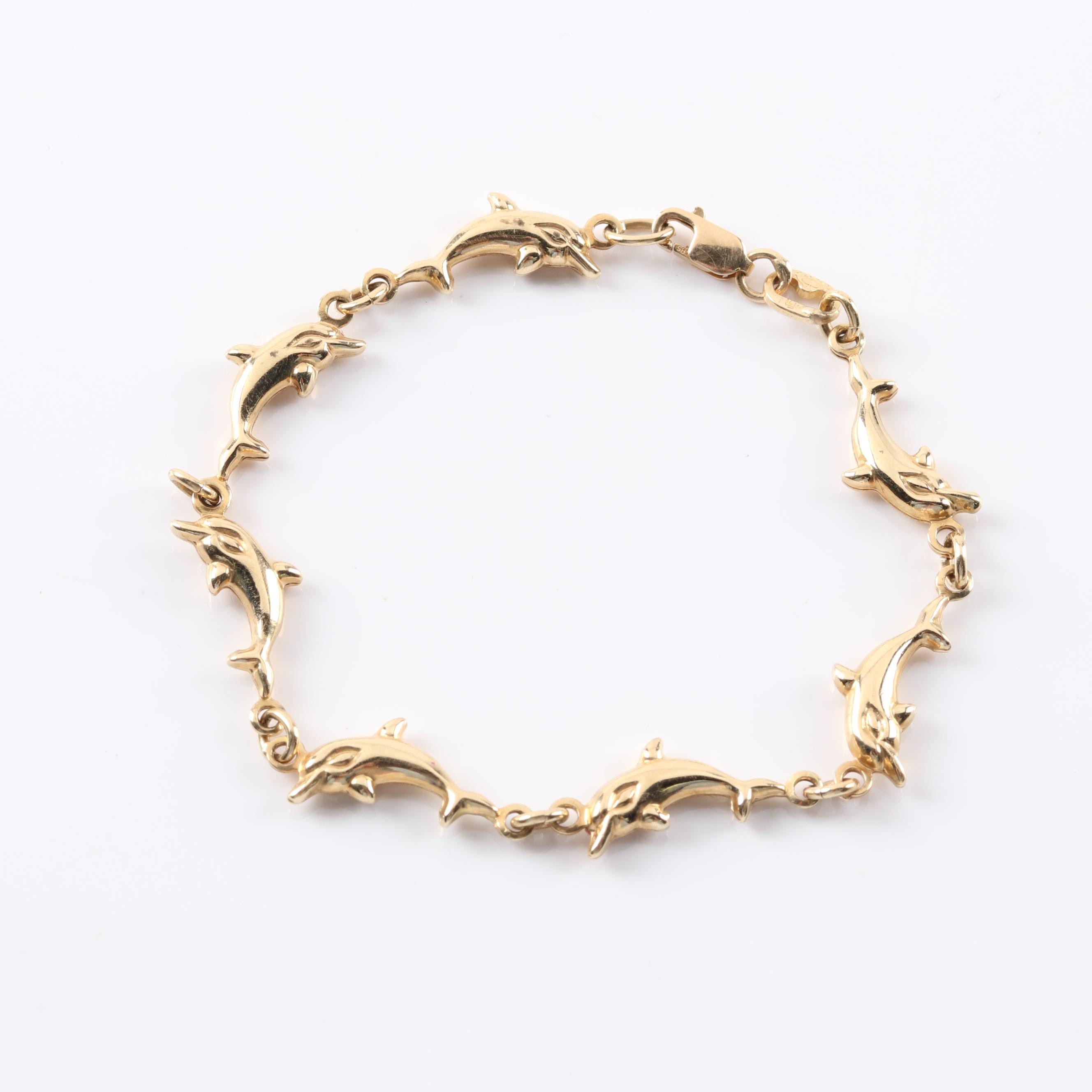 14K Yellow Gold Dolphin Link Bracelet