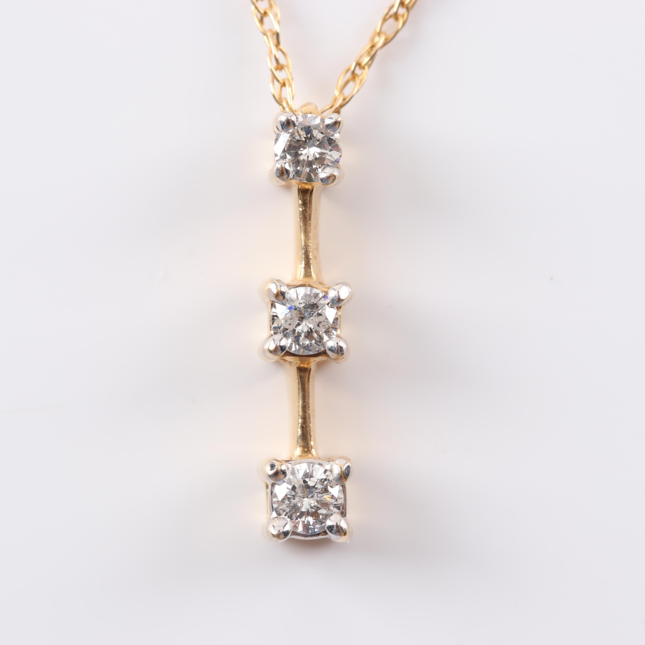 14K Yellow Gold Three-Stone Diamond Pendant Necklace