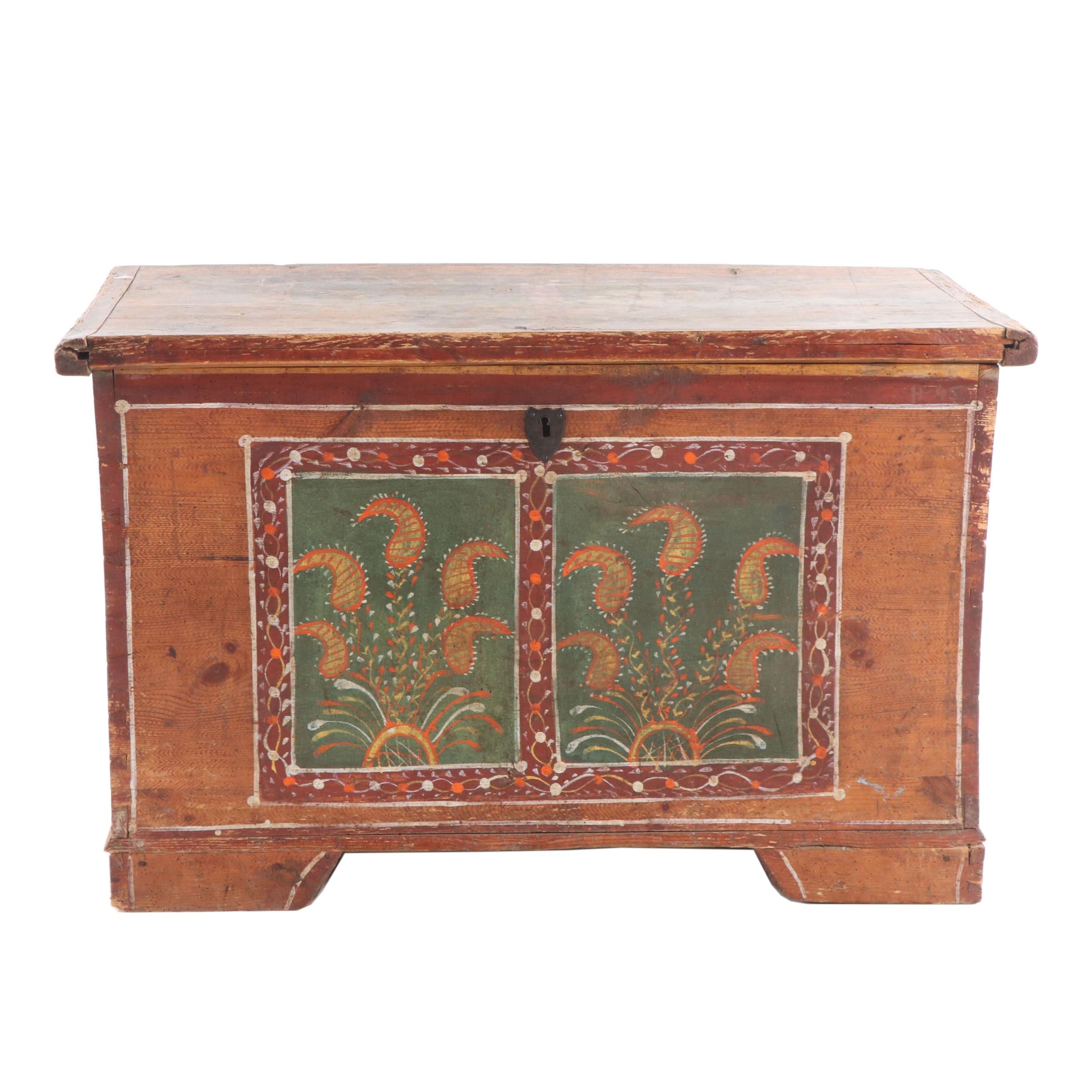 Hand-Painted Austro-Hungarian Blanket Chest, Mid-19th Century