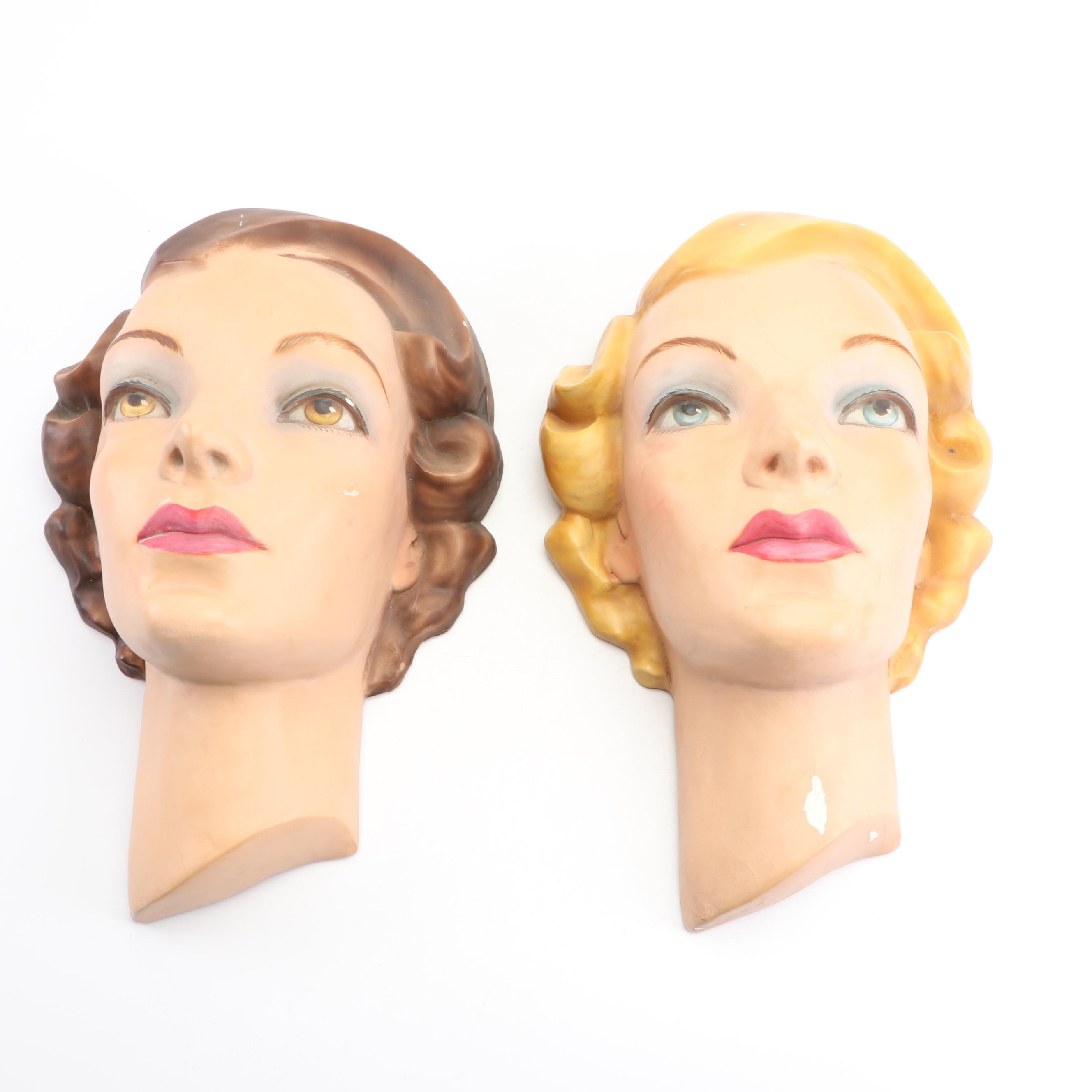Mid Century Painted Clay Salon Heads