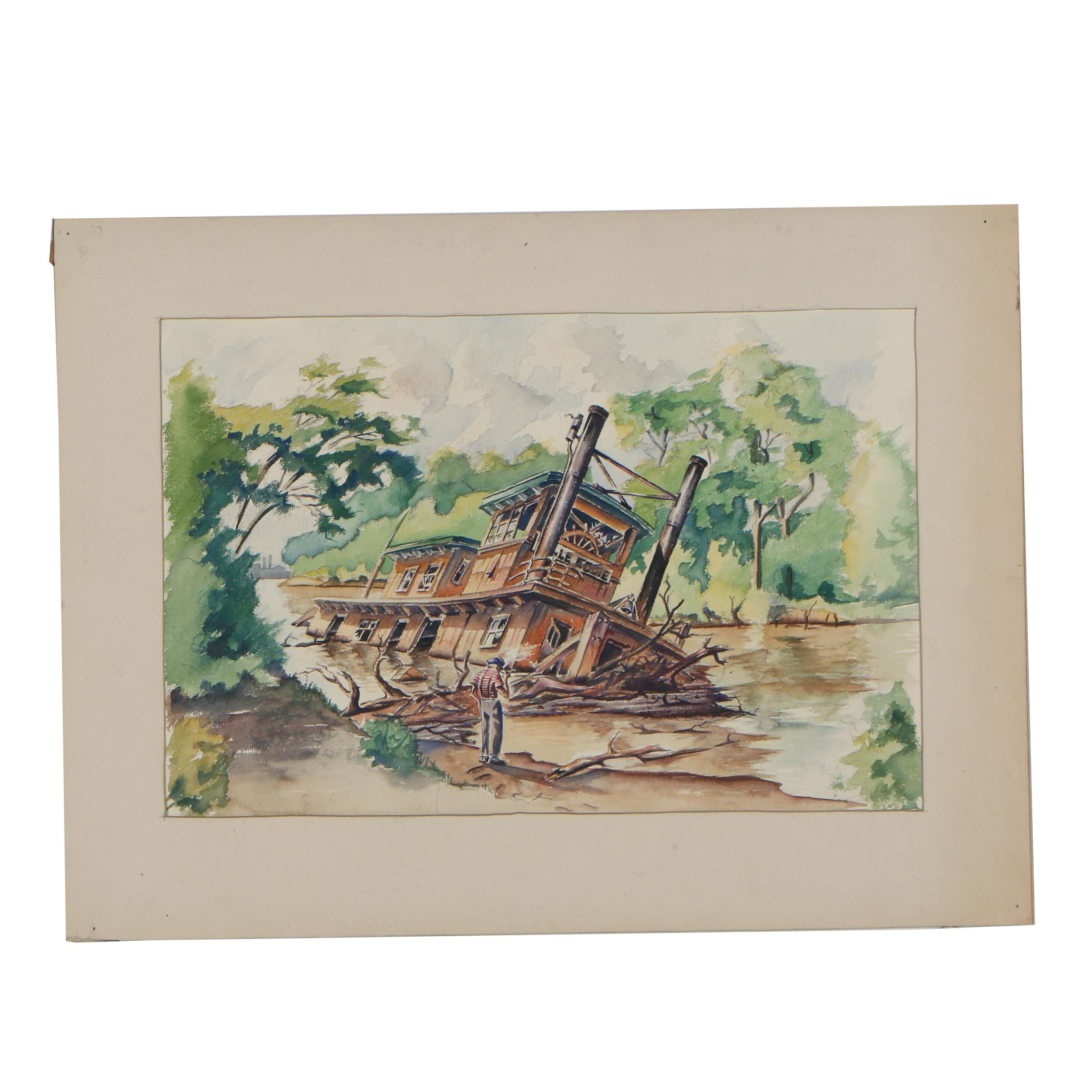 Early-Mid 20th Century Landscape Watercolor Painting