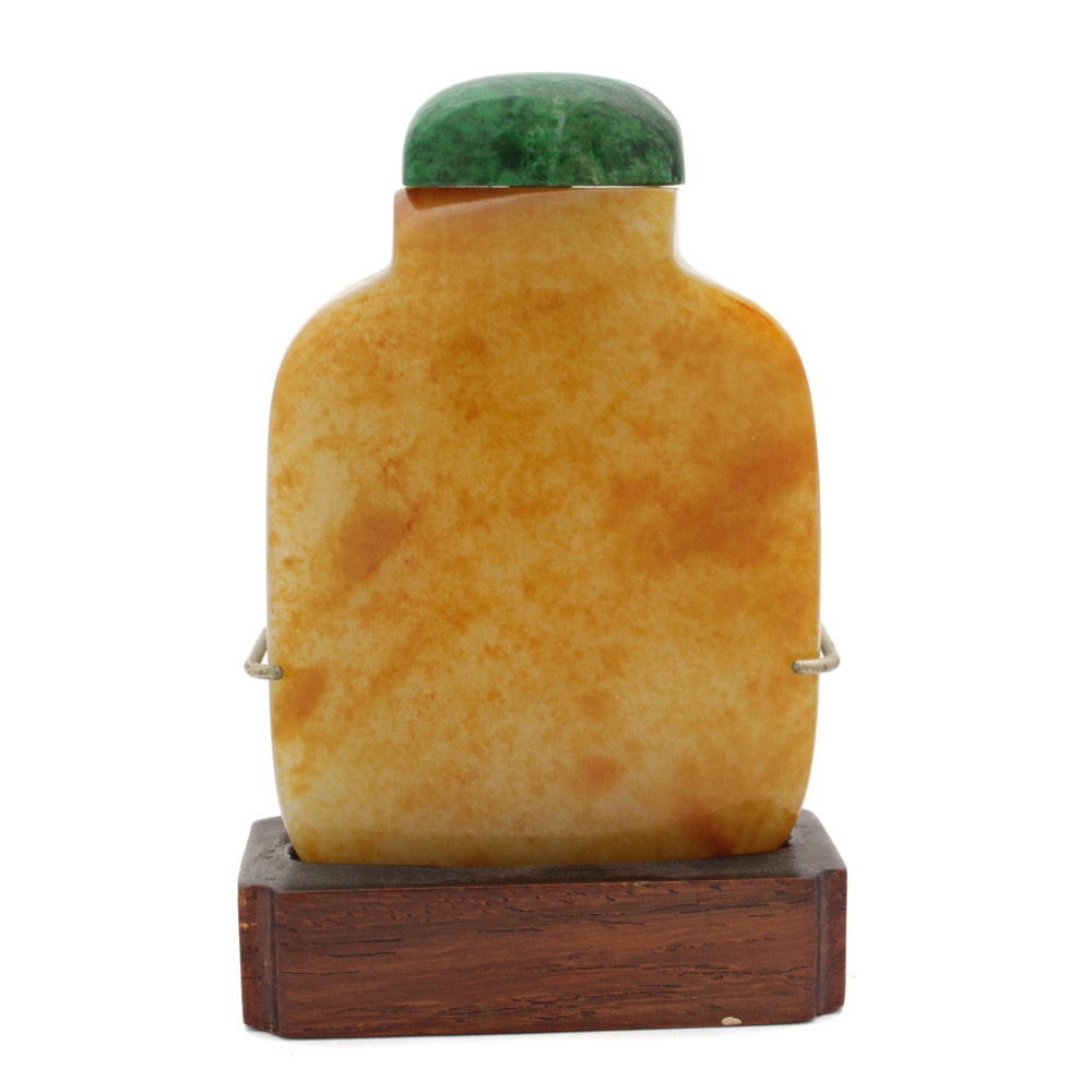 Chinese Nephrite Jade Pebble Stone Snuff Bottle with Dyed Stone Stopper