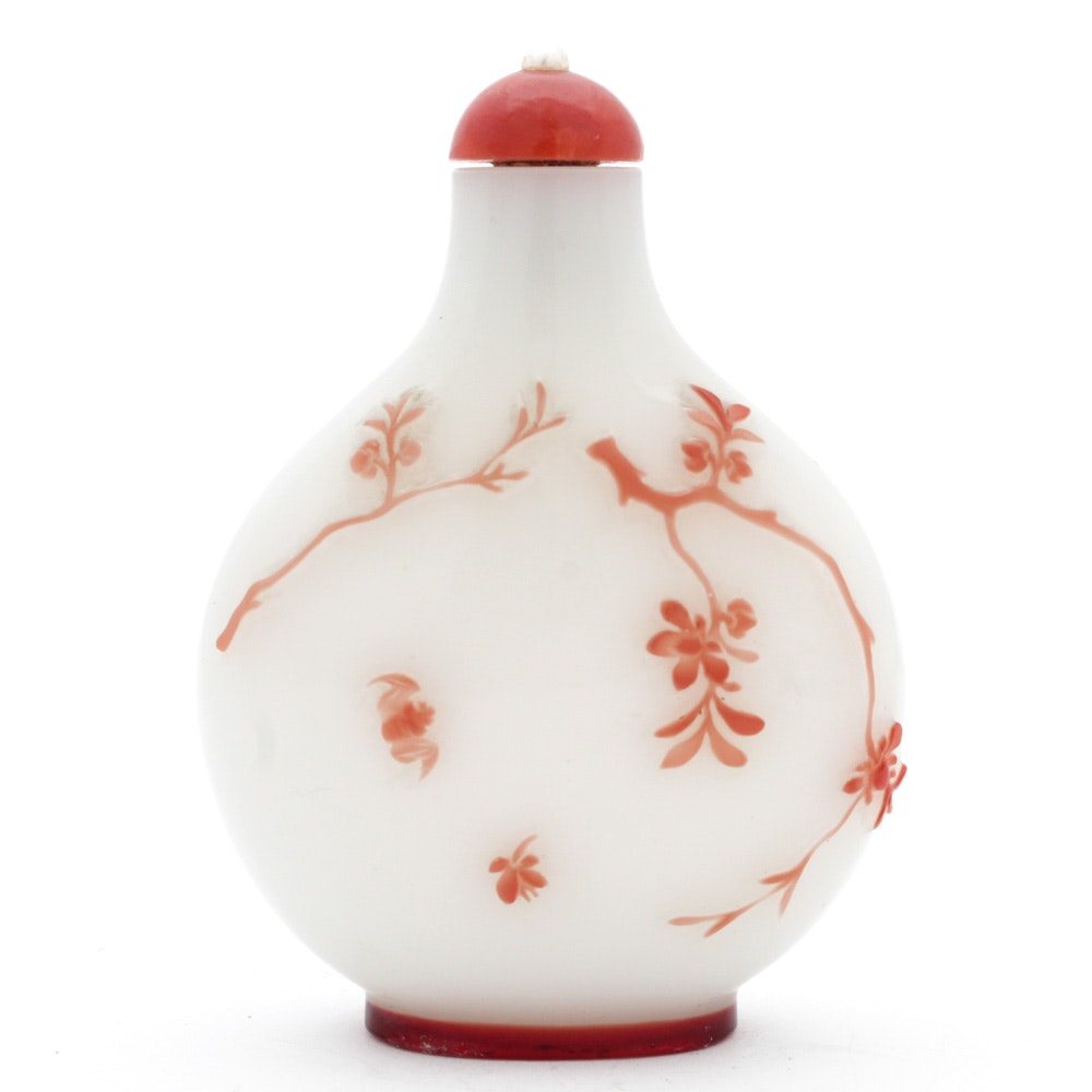 Chinese Glass Snuff Bottle with Overlay Design