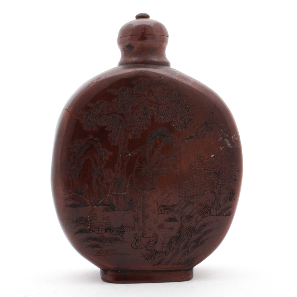 Chinese Hand Carved Wood Snuff Bottle