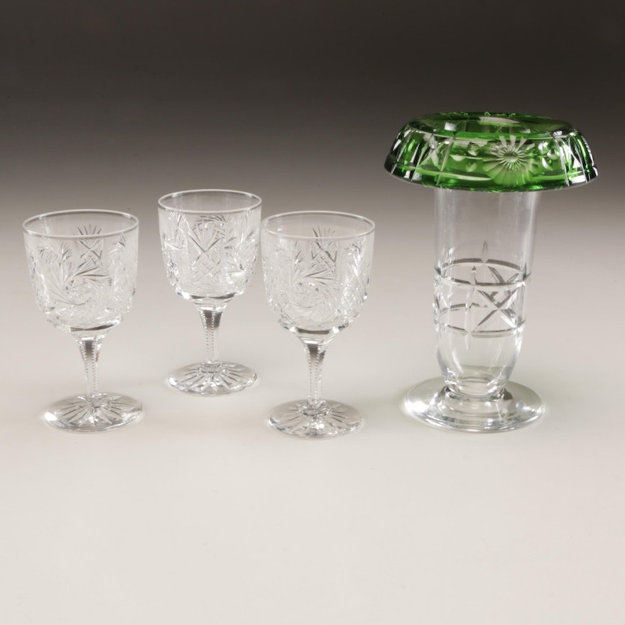 American Brilliant Cut Stemware with Bohemian Style Green and Colorless Vase